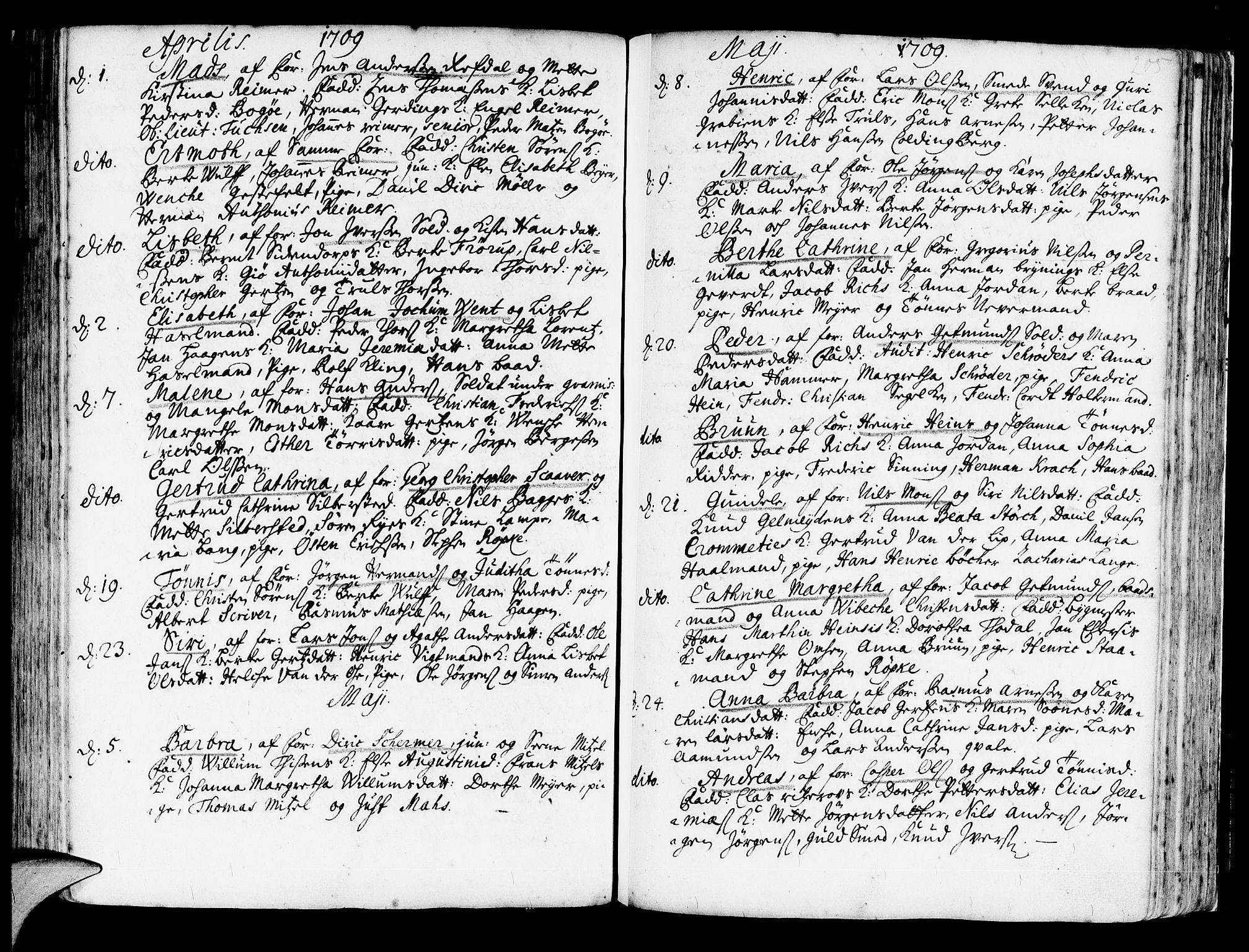 SAB, Korskirken Sokneprestembete, H/Haa/L0003: Ministerialbok nr. A 3, 1698-1719, s. 205