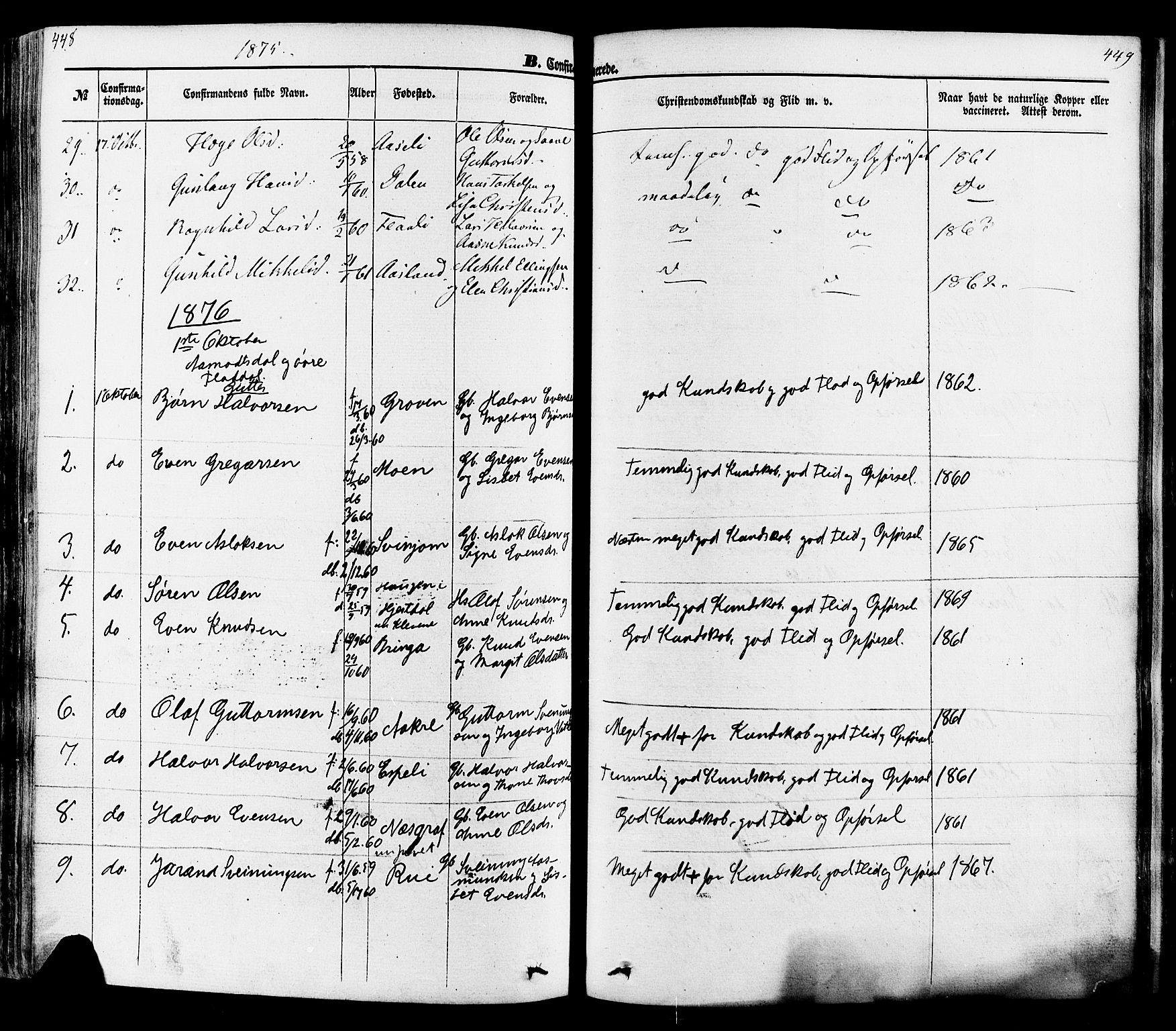 SAKO, Seljord kirkebøker, F/Fa/L0013: Ministerialbok nr. I 13, 1866-1876, s. 448-449