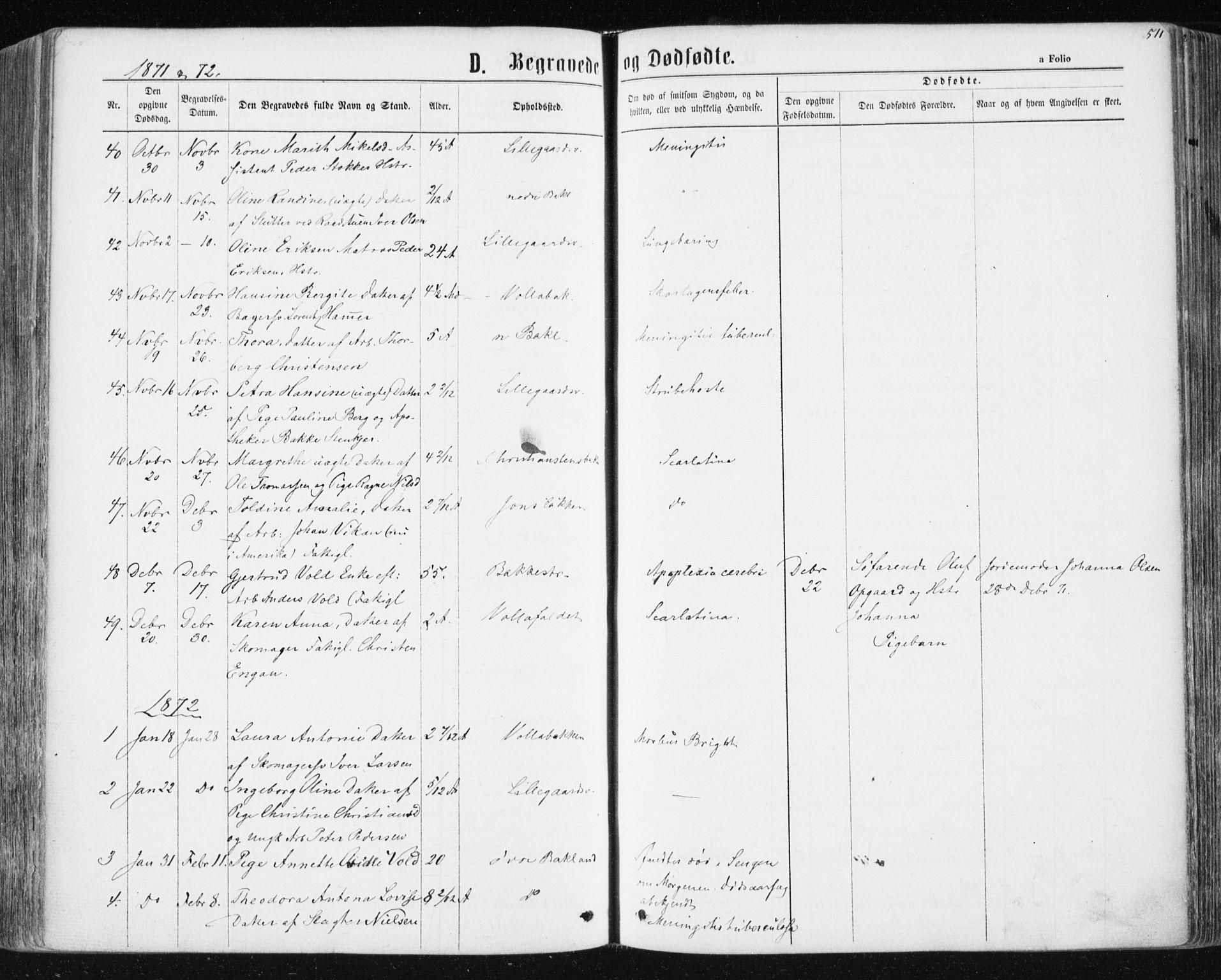 SAT, Ministerialprotokoller, klokkerbøker og fødselsregistre - Sør-Trøndelag, 604/L0186: Ministerialbok nr. 604A07, 1866-1877, s. 511
