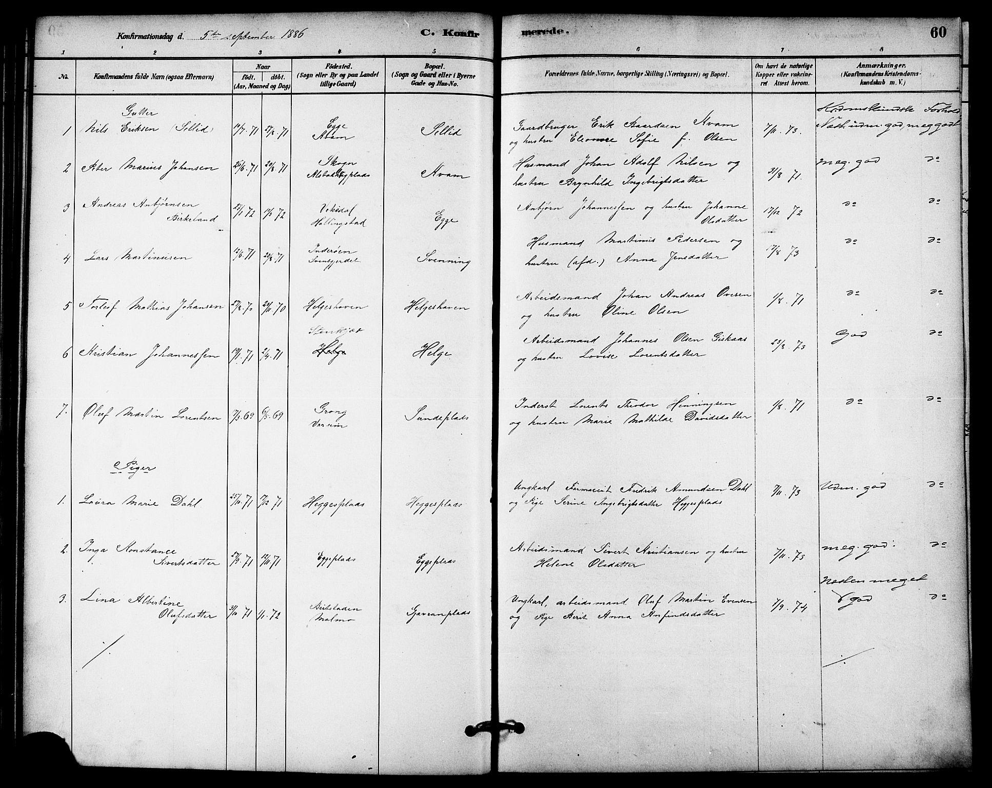 SAT, Ministerialprotokoller, klokkerbøker og fødselsregistre - Nord-Trøndelag, 740/L0378: Ministerialbok nr. 740A01, 1881-1895, s. 60