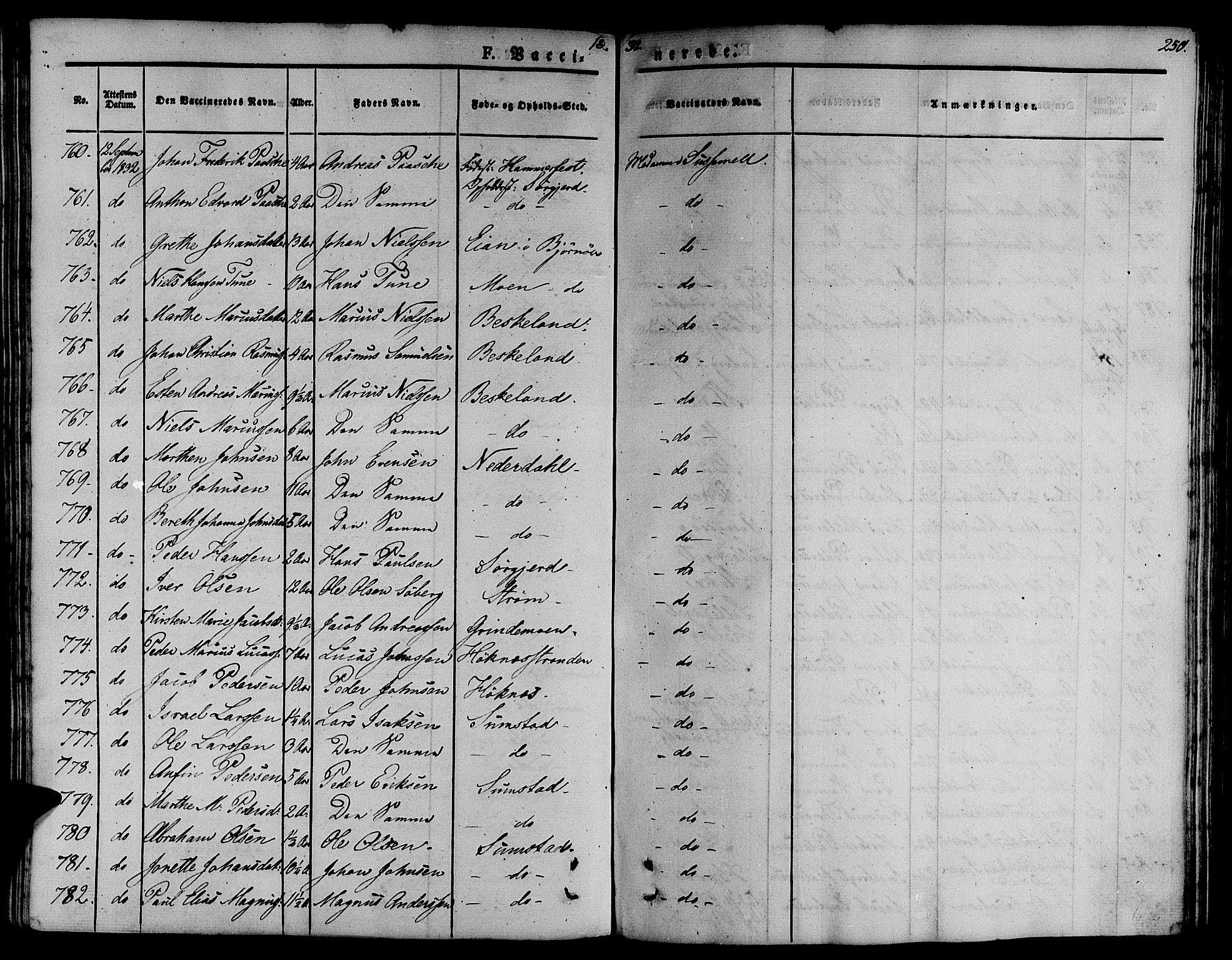 SAT, Ministerialprotokoller, klokkerbøker og fødselsregistre - Sør-Trøndelag, 657/L0703: Ministerialbok nr. 657A04, 1831-1846, s. 250