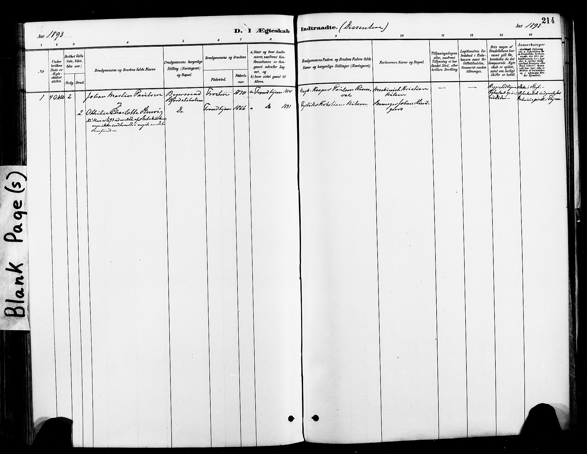 SAT, Ministerialprotokoller, klokkerbøker og fødselsregistre - Nord-Trøndelag, 709/L0077: Ministerialbok nr. 709A17, 1880-1895, s. 214