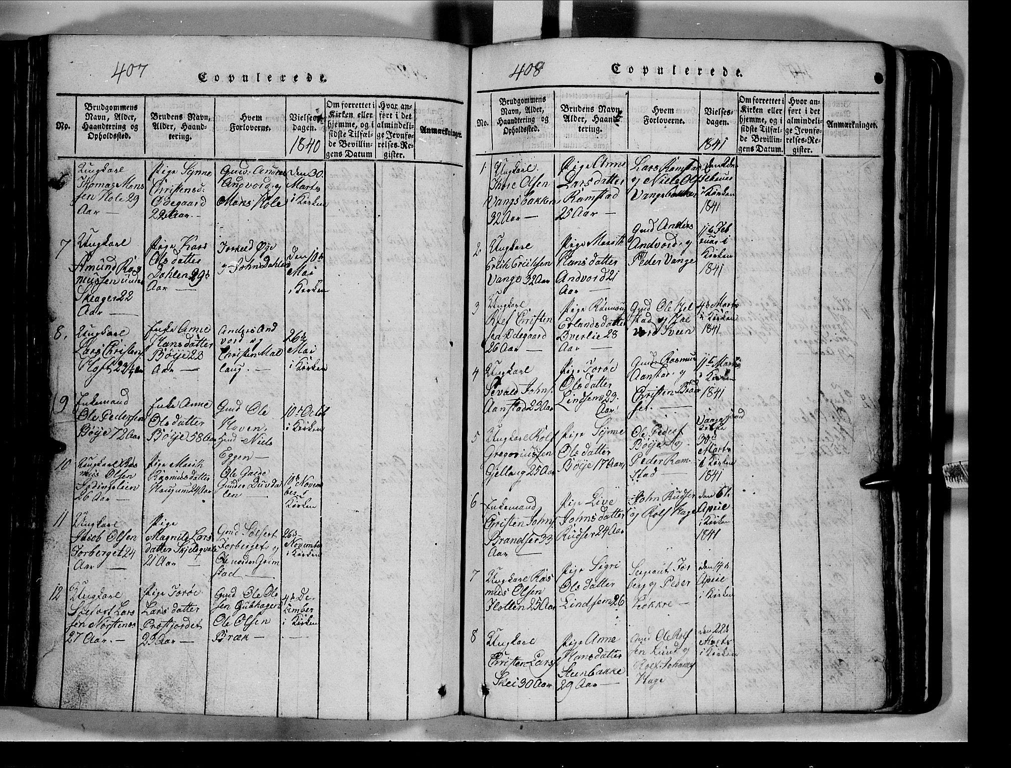 SAH, Lom prestekontor, L/L0003: Klokkerbok nr. 3, 1815-1844, s. 407-408