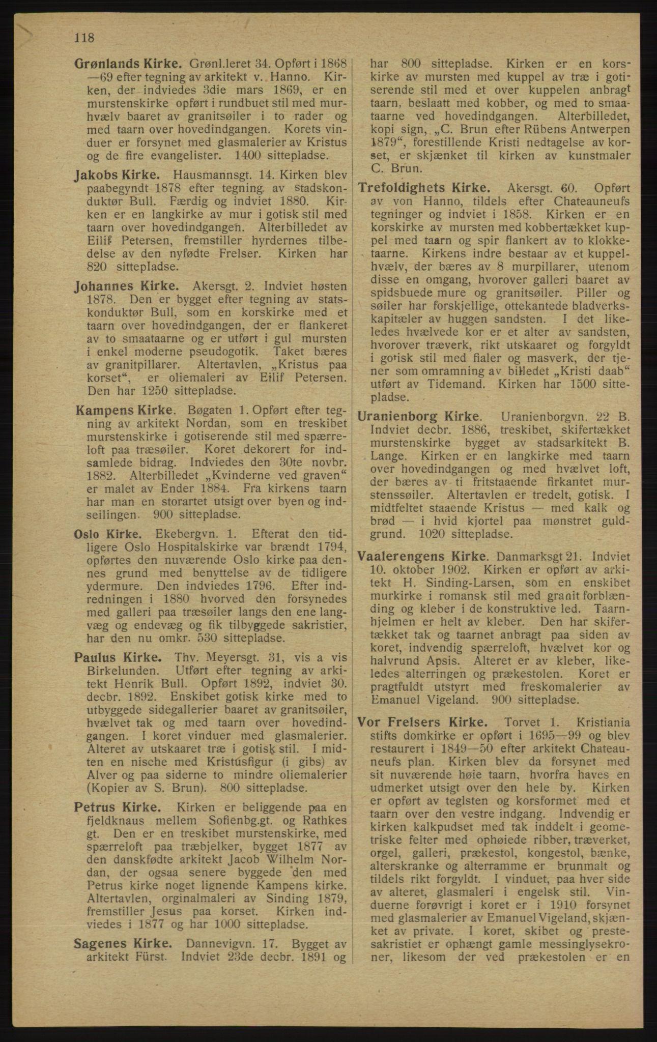 RA, Kristiania adressebok (publikasjon)*, 1913, s. 118