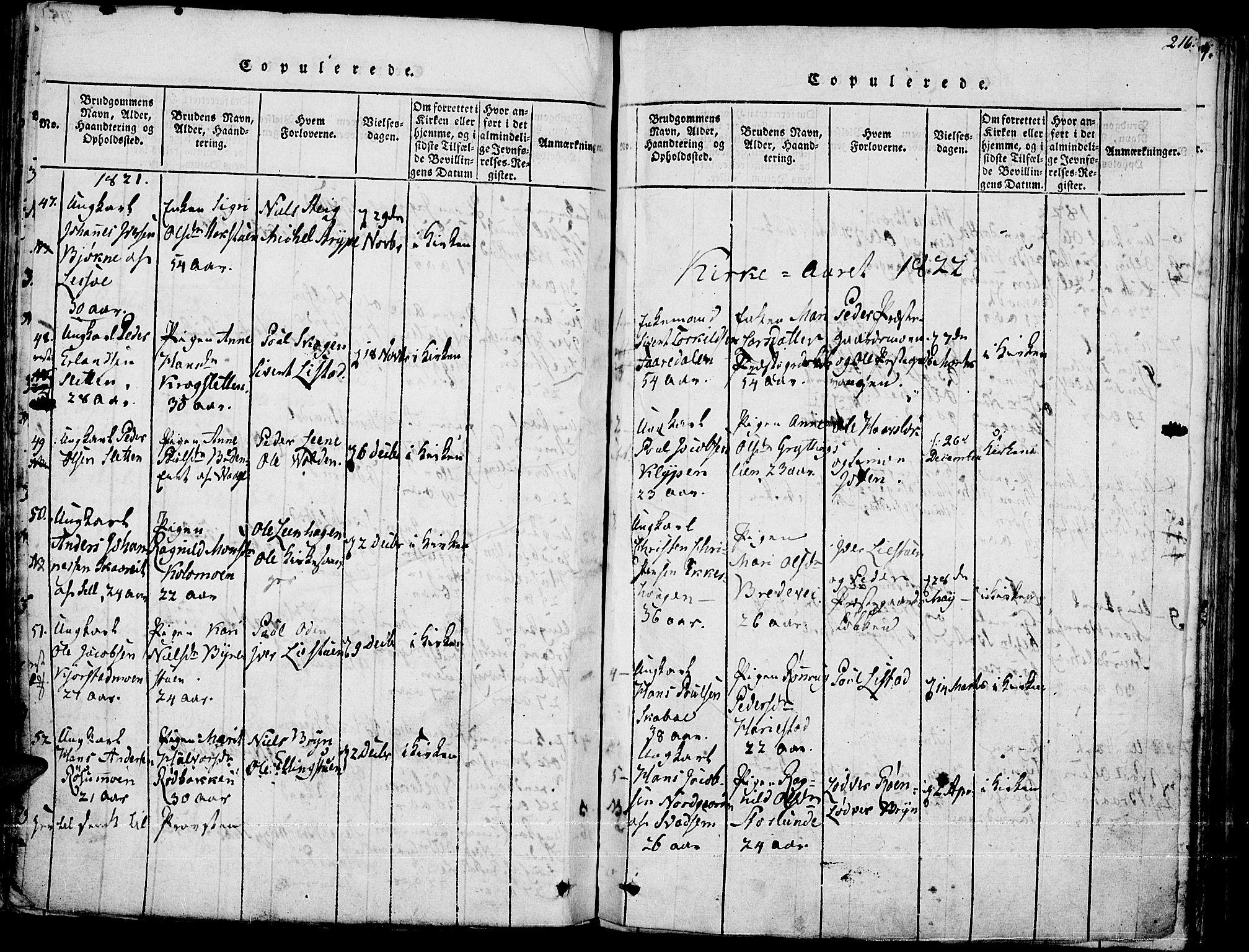 SAH, Fron prestekontor, H/Ha/Haa/L0002: Ministerialbok nr. 2, 1816-1827, s. 216