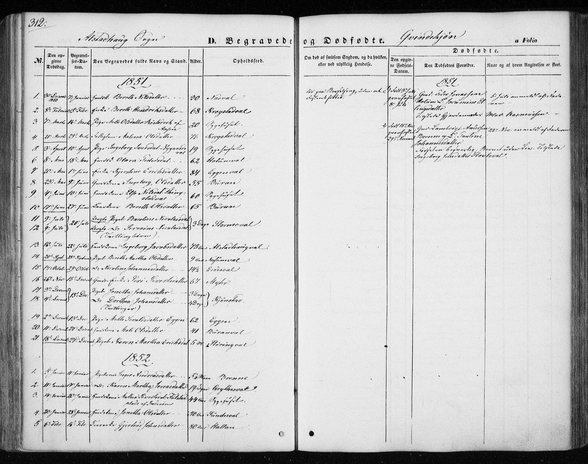 SAT, Ministerialprotokoller, klokkerbøker og fødselsregistre - Nord-Trøndelag, 717/L0154: Ministerialbok nr. 717A07 /1, 1850-1862, s. 312