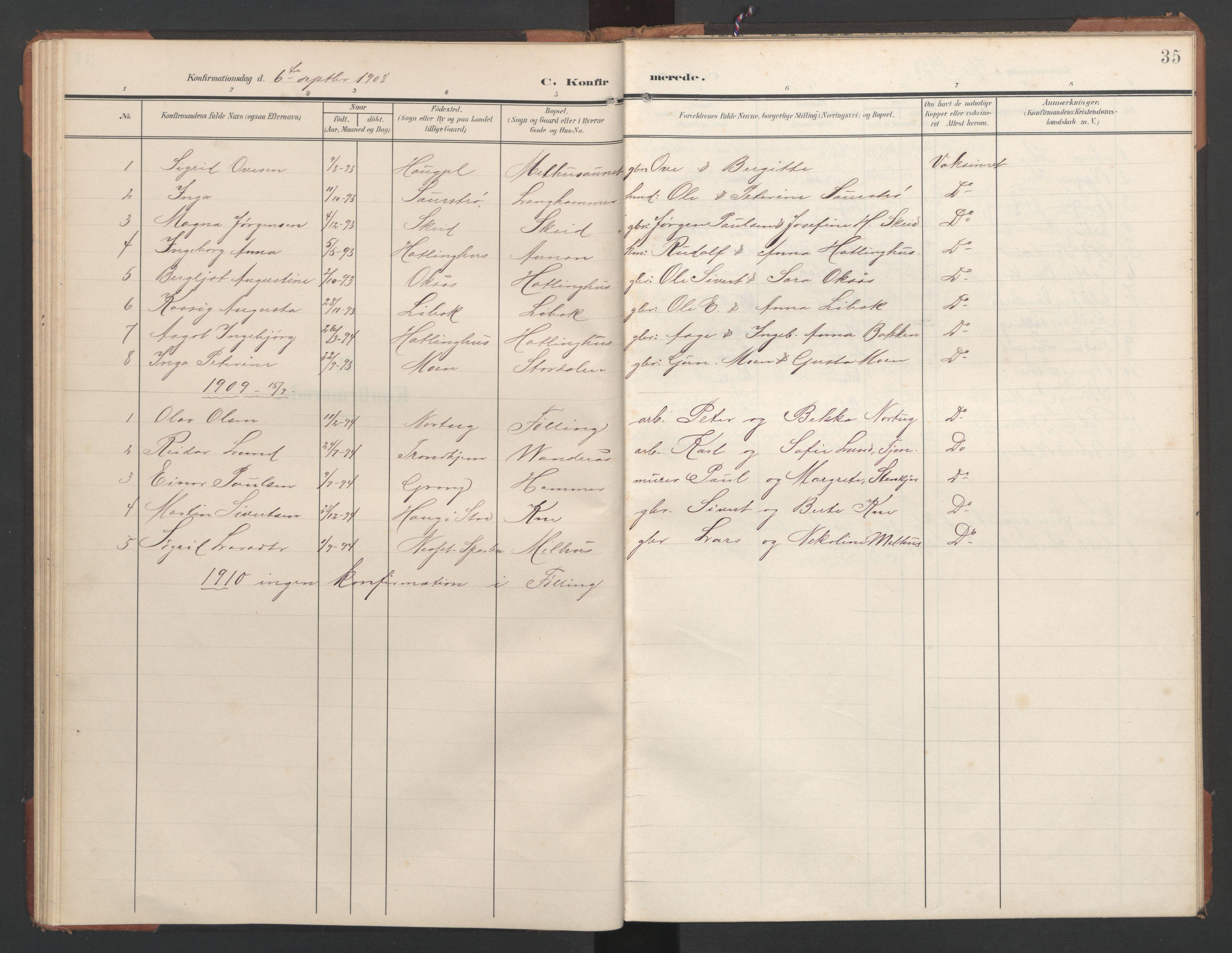 SAT, Ministerialprotokoller, klokkerbøker og fødselsregistre - Nord-Trøndelag, 748/L0465: Klokkerbok nr. 748C01, 1908-1960, s. 35