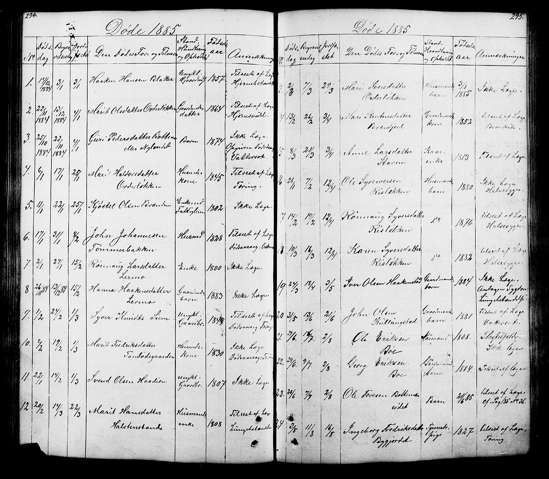 SAH, Lesja prestekontor, Klokkerbok nr. 5, 1850-1894, s. 294-295