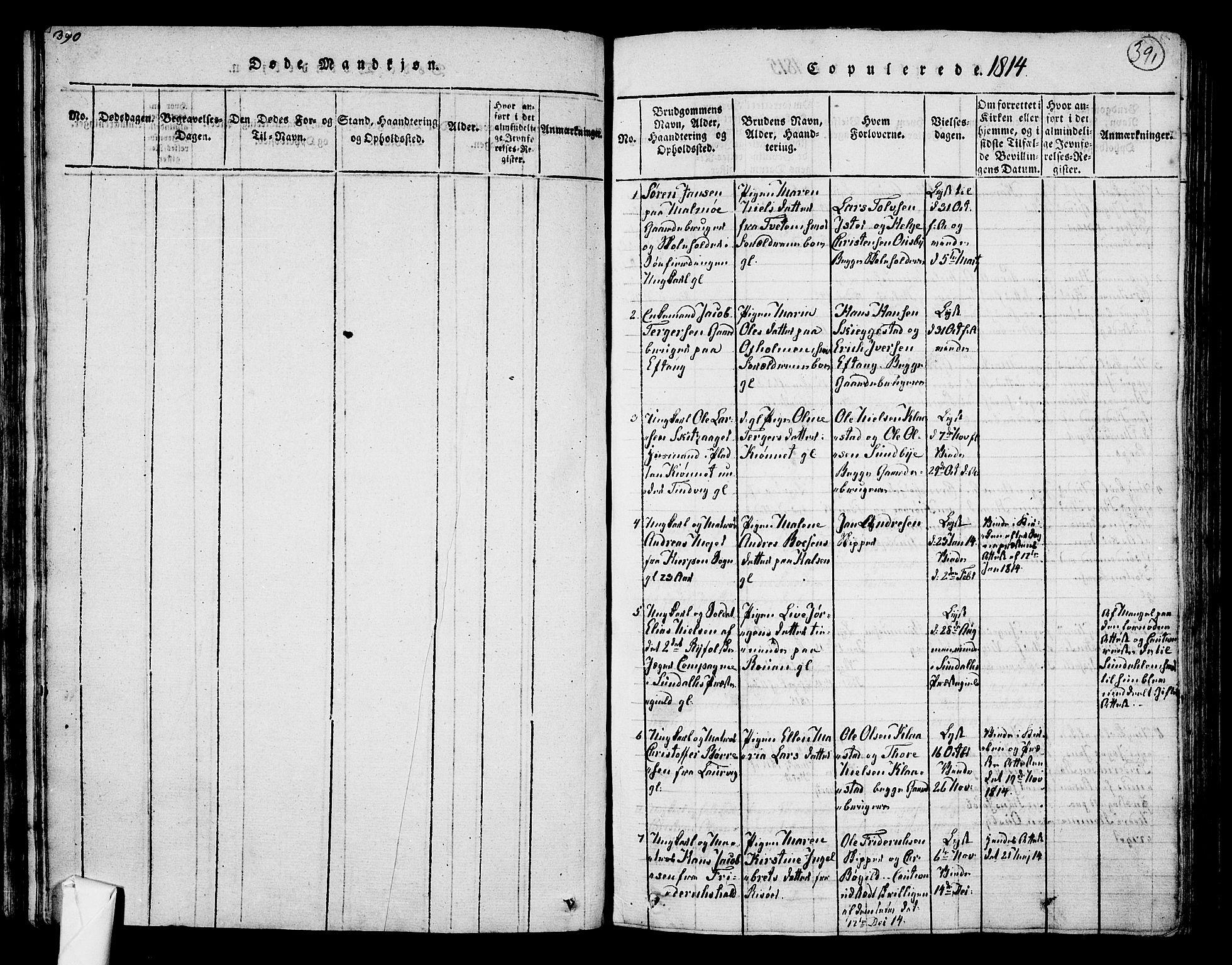 SAKO, Tjølling kirkebøker, F/Fa/L0005: Ministerialbok nr. 5, 1814-1836, s. 390-391