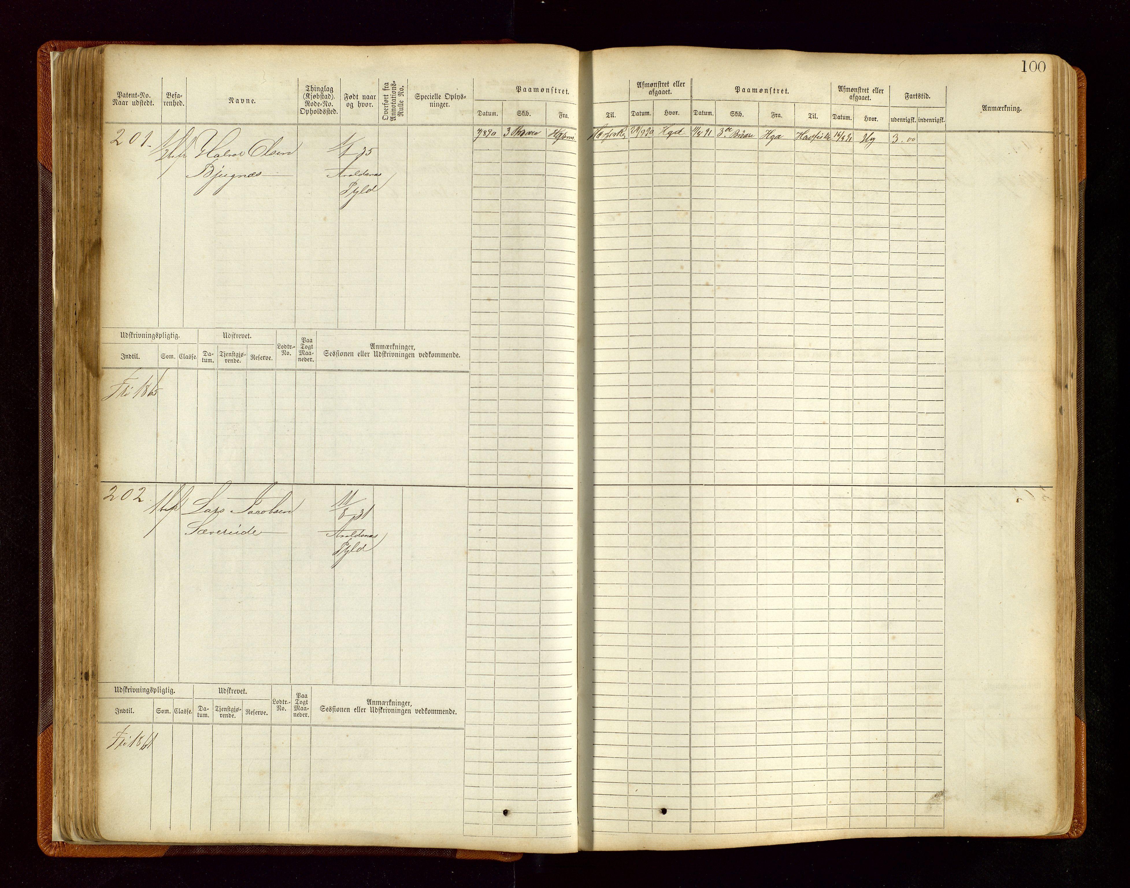 SAST, Haugesund sjømannskontor, F/Fb/Fbb/L0004: Sjøfartsrulle Haugesund krets nr. 1-1922, 1868-1948, s. 100