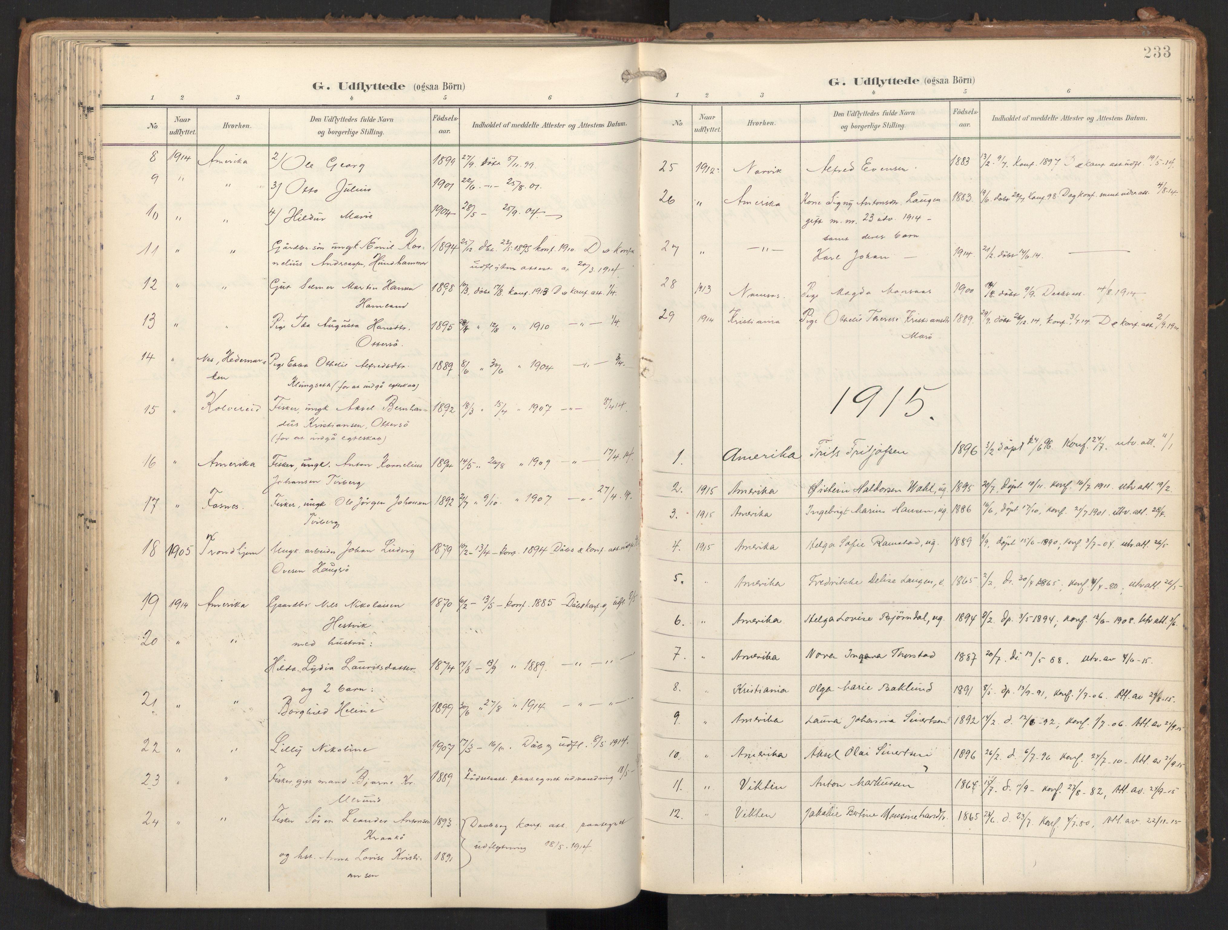 SAT, Ministerialprotokoller, klokkerbøker og fødselsregistre - Nord-Trøndelag, 784/L0677: Ministerialbok nr. 784A12, 1900-1920, s. 233