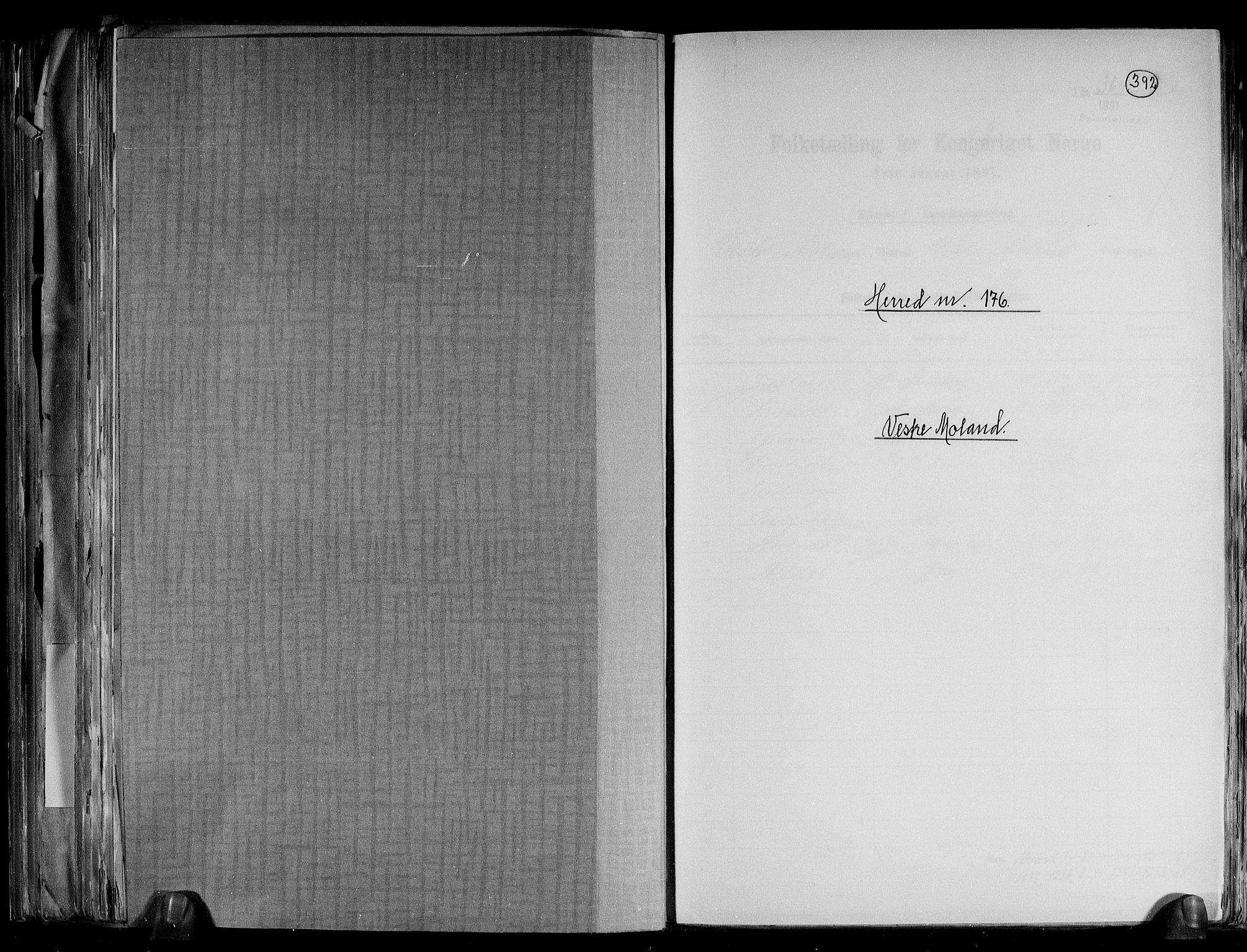 RA, Folketelling 1891 for 0926 Vestre Moland herred, 1891, s. 1