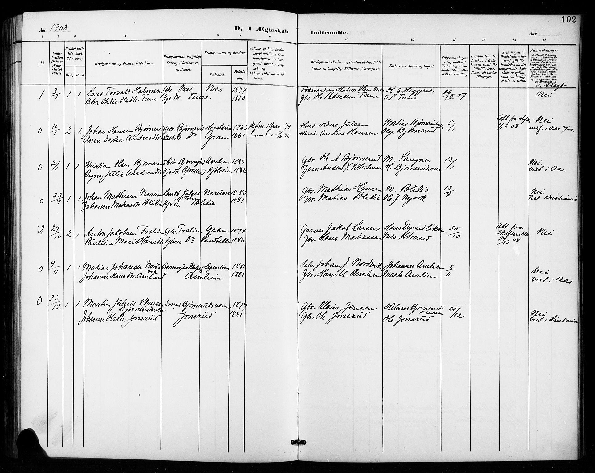 SAH, Vestre Toten prestekontor, Klokkerbok nr. 16, 1901-1915, s. 102