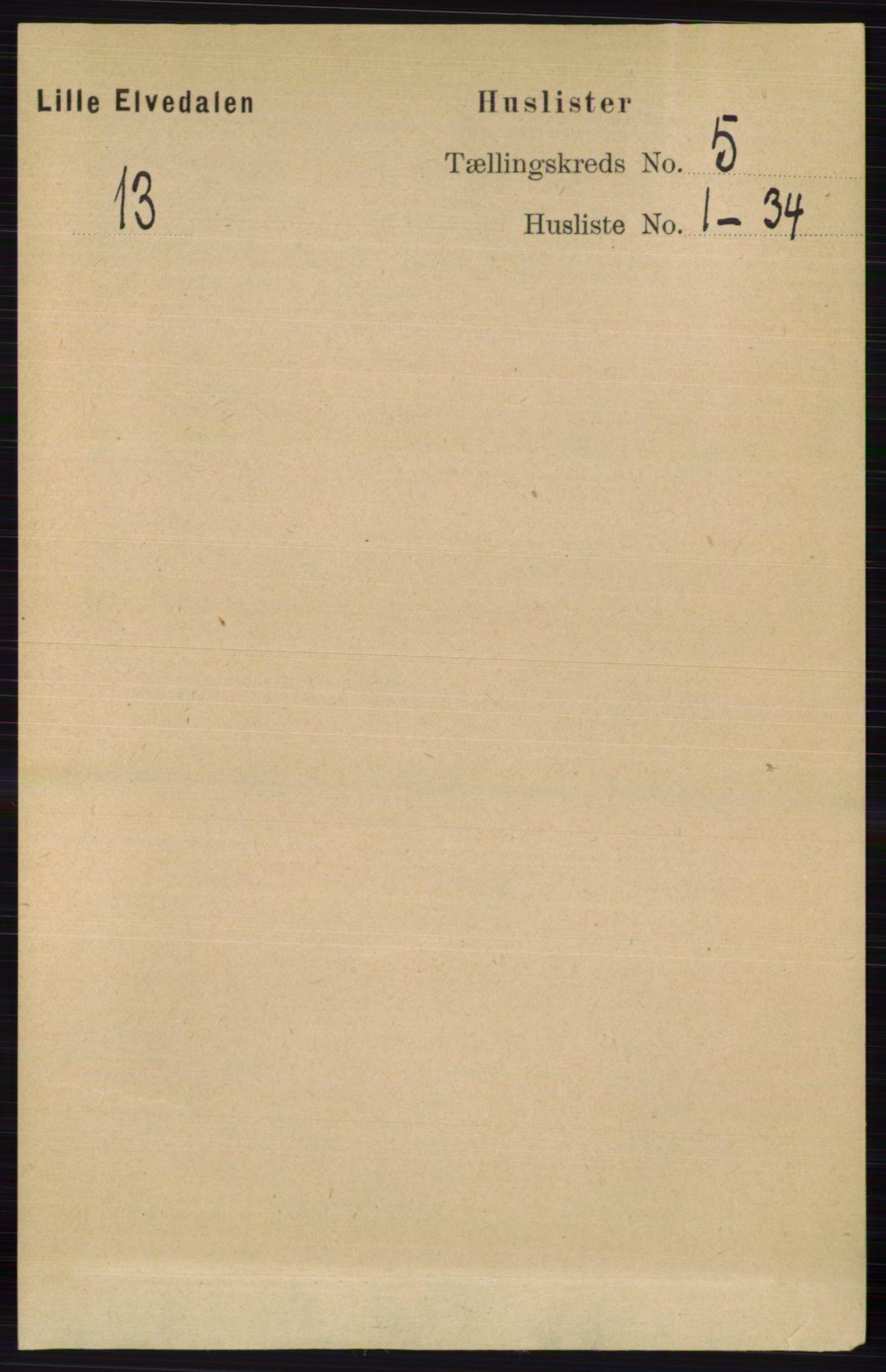 RA, Folketelling 1891 for 0438 Lille Elvedalen herred, 1891, s. 1507