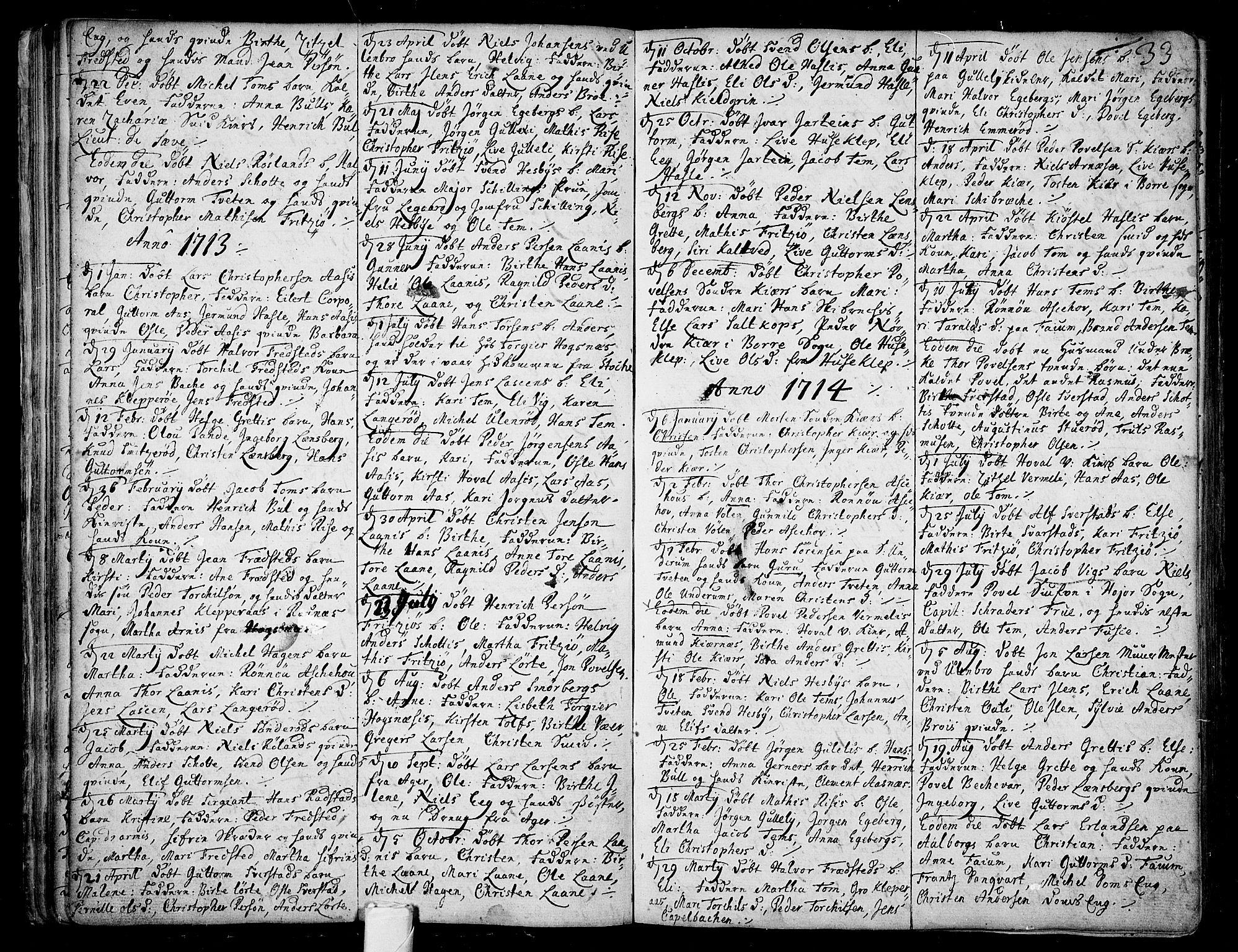 SAKO, Sem kirkebøker, F/Fa/L0001: Ministerialbok nr. I 1, 1702-1763, s. 33