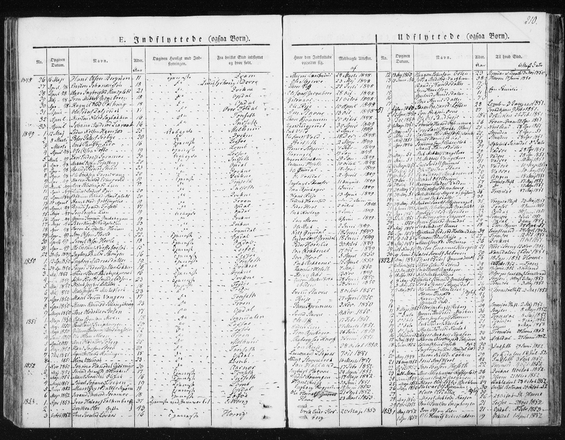 SAT, Ministerialprotokoller, klokkerbøker og fødselsregistre - Sør-Trøndelag, 674/L0869: Ministerialbok nr. 674A01, 1829-1860, s. 210
