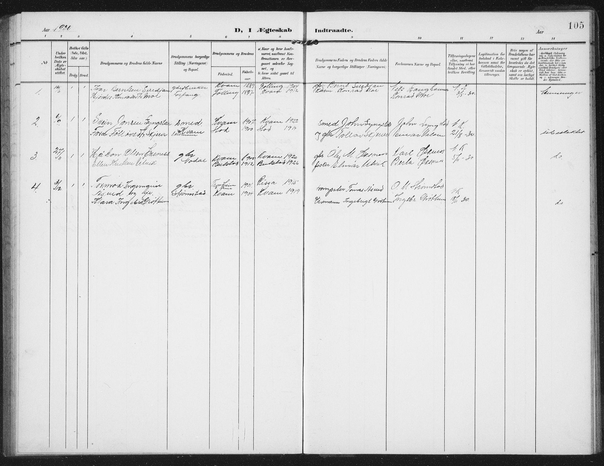 SAT, Ministerialprotokoller, klokkerbøker og fødselsregistre - Nord-Trøndelag, 747/L0460: Klokkerbok nr. 747C02, 1908-1939, s. 105