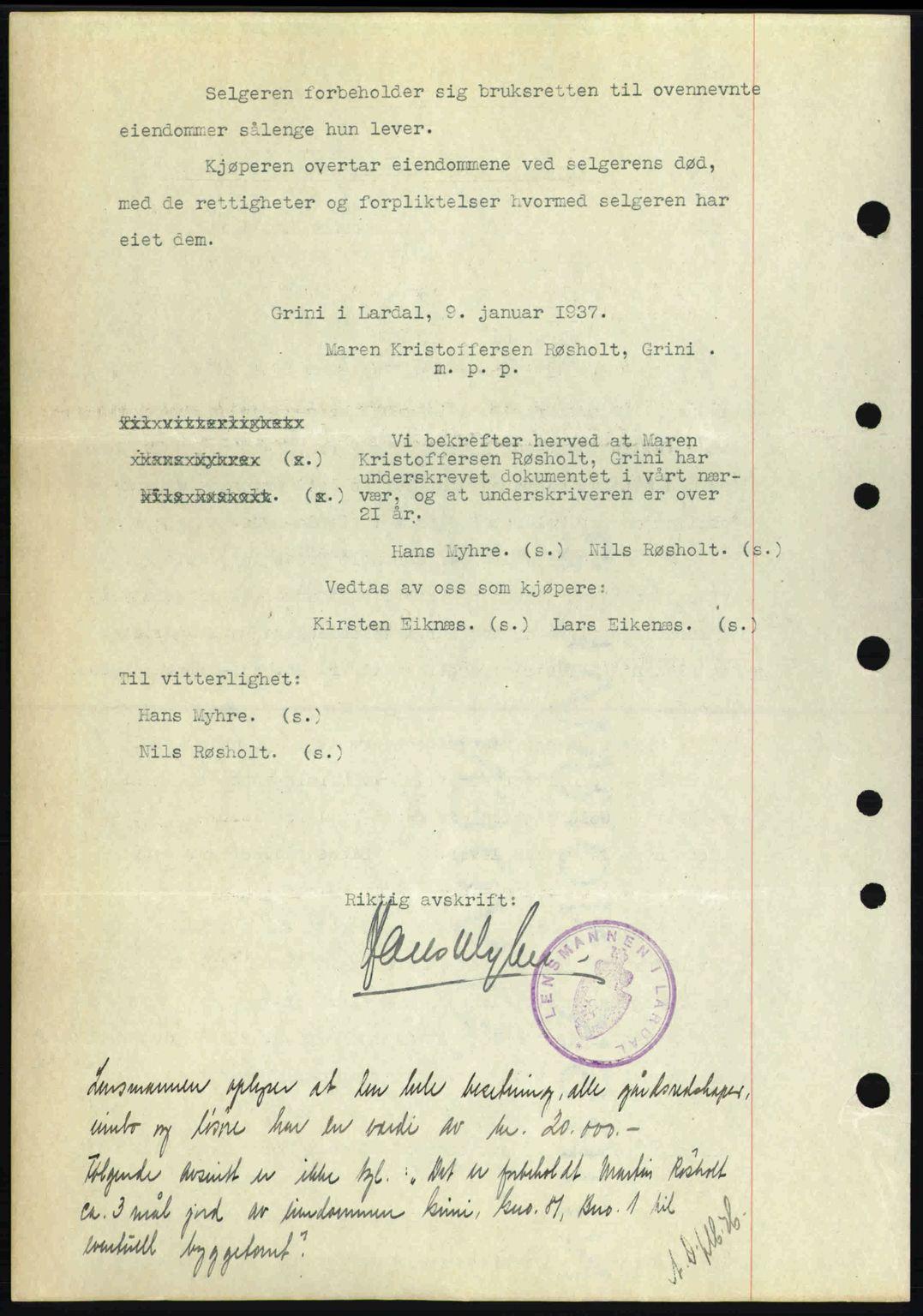SAKO, Larvik sorenskriveri, G/Ga/Gab/L0067: Pantebok nr. A-1, 1936-1937, Dagboknr: 119/1937