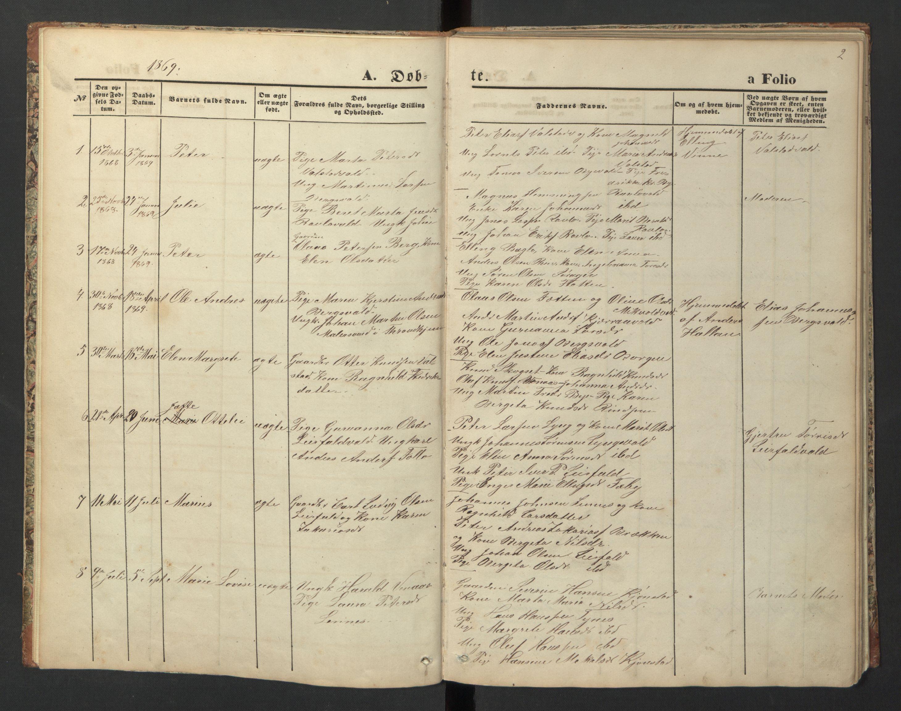 SAT, Ministerialprotokoller, klokkerbøker og fødselsregistre - Nord-Trøndelag, 726/L0271: Klokkerbok nr. 726C02, 1869-1897, s. 2