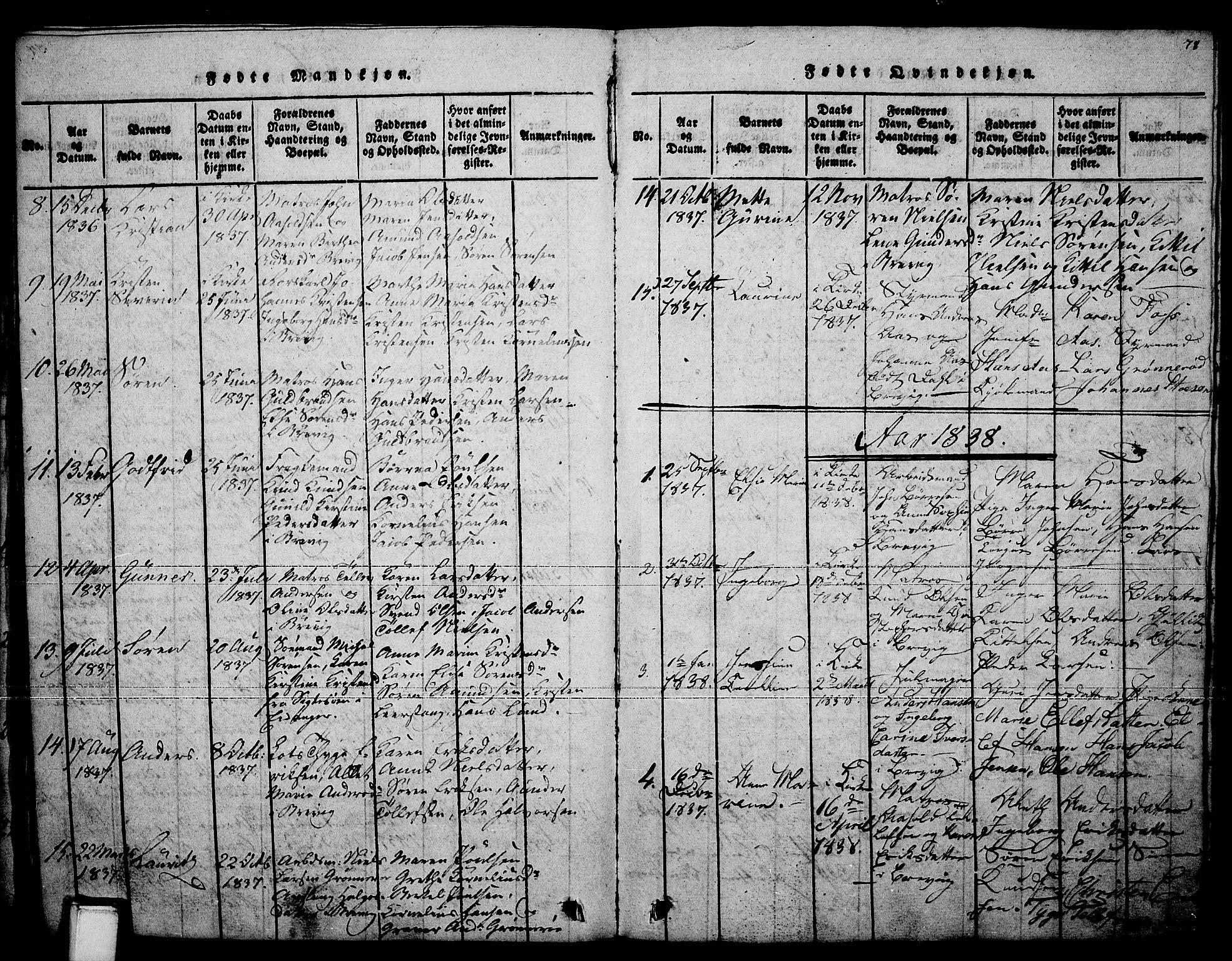 SAKO, Brevik kirkebøker, F/Fa/L0004: Ministerialbok nr. 4, 1814-1846, s. 78
