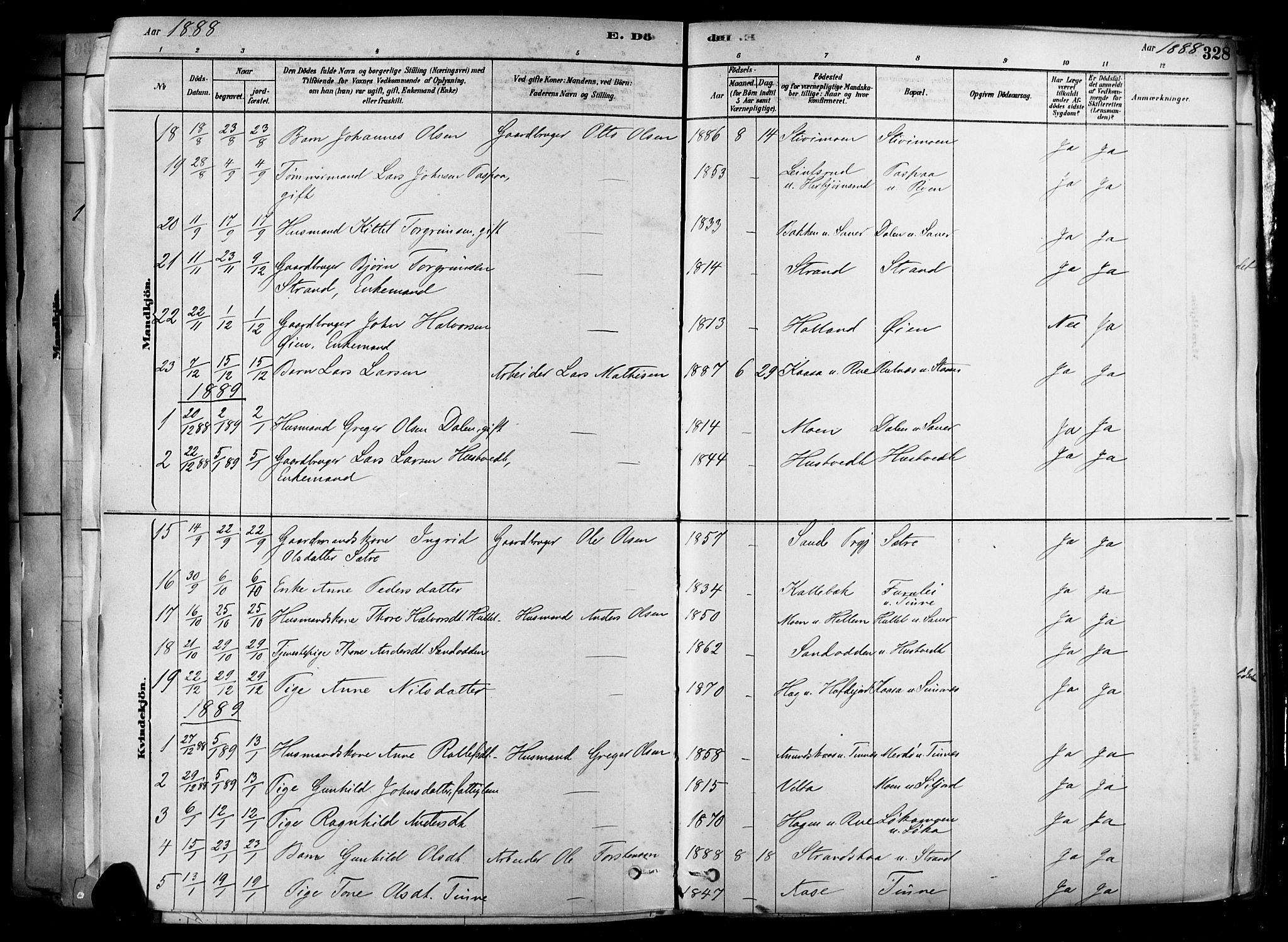 SAKO, Heddal kirkebøker, F/Fa/L0008: Ministerialbok nr. I 8, 1878-1903, s. 328