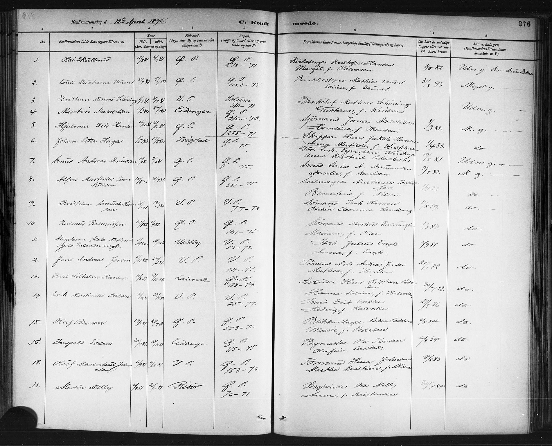 SAKO, Porsgrunn kirkebøker , G/Gb/L0005: Klokkerbok nr. II 5, 1883-1915, s. 276