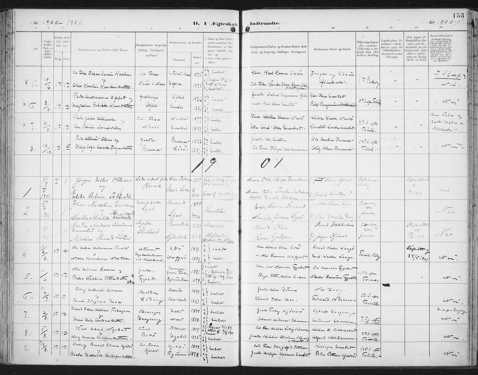 SAT, Ministerialprotokoller, klokkerbøker og fødselsregistre - Nord-Trøndelag, 786/L0688: Ministerialbok nr. 786A04, 1899-1912, s. 153