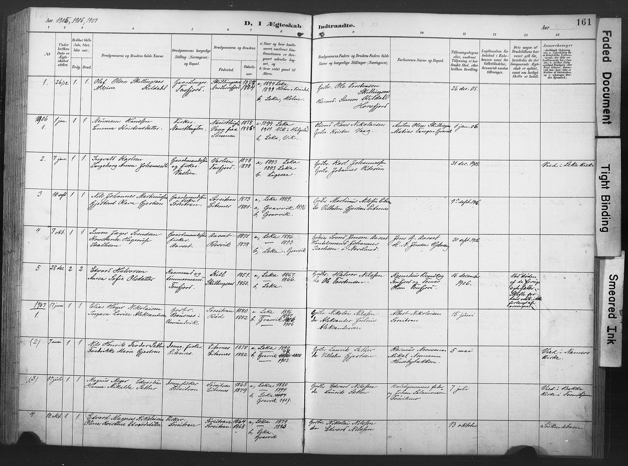 SAT, Ministerialprotokoller, klokkerbøker og fødselsregistre - Nord-Trøndelag, 789/L0706: Klokkerbok nr. 789C01, 1888-1931, s. 161