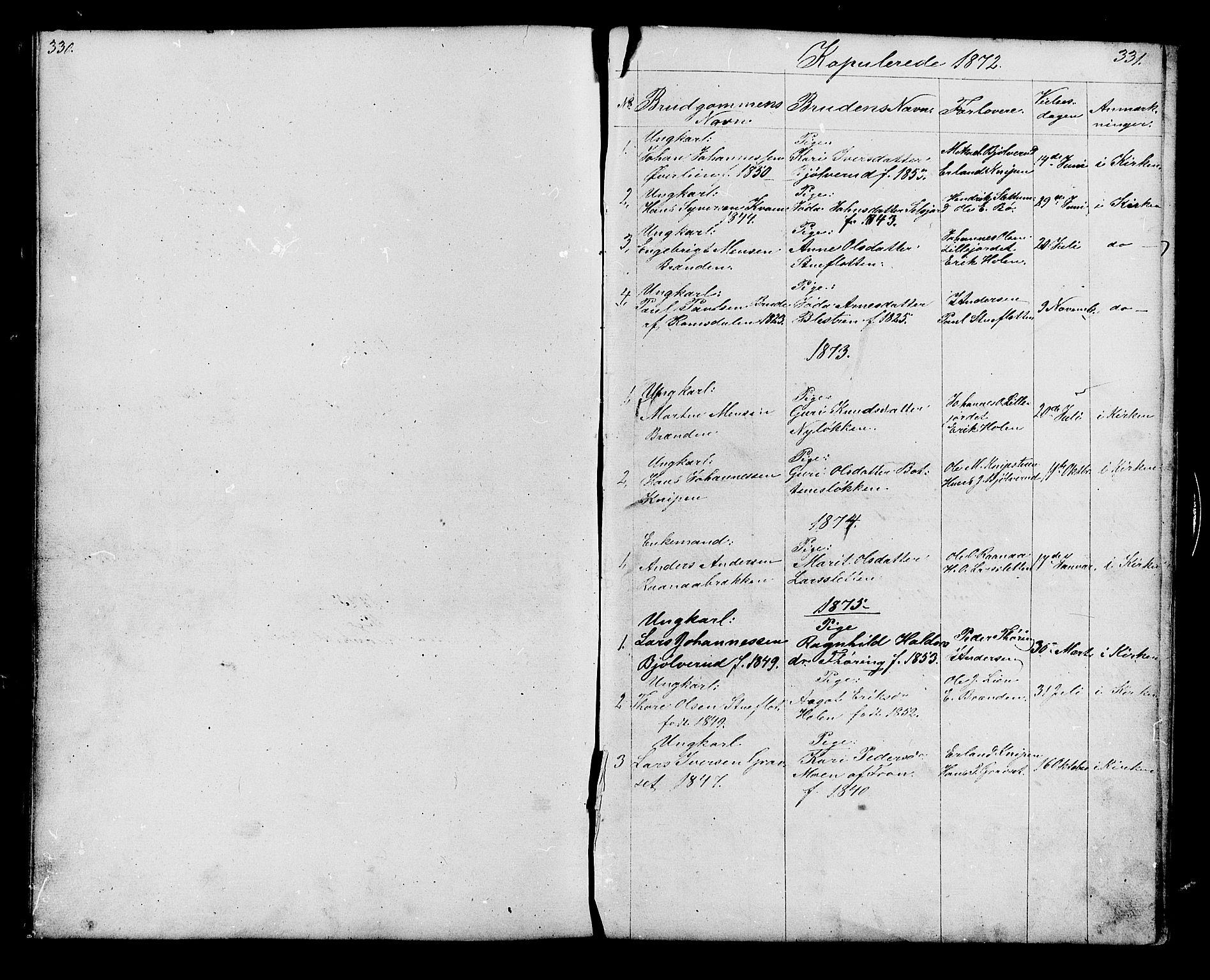 SAH, Lesja prestekontor, Klokkerbok nr. 6, 1871-1904, s. 330-331