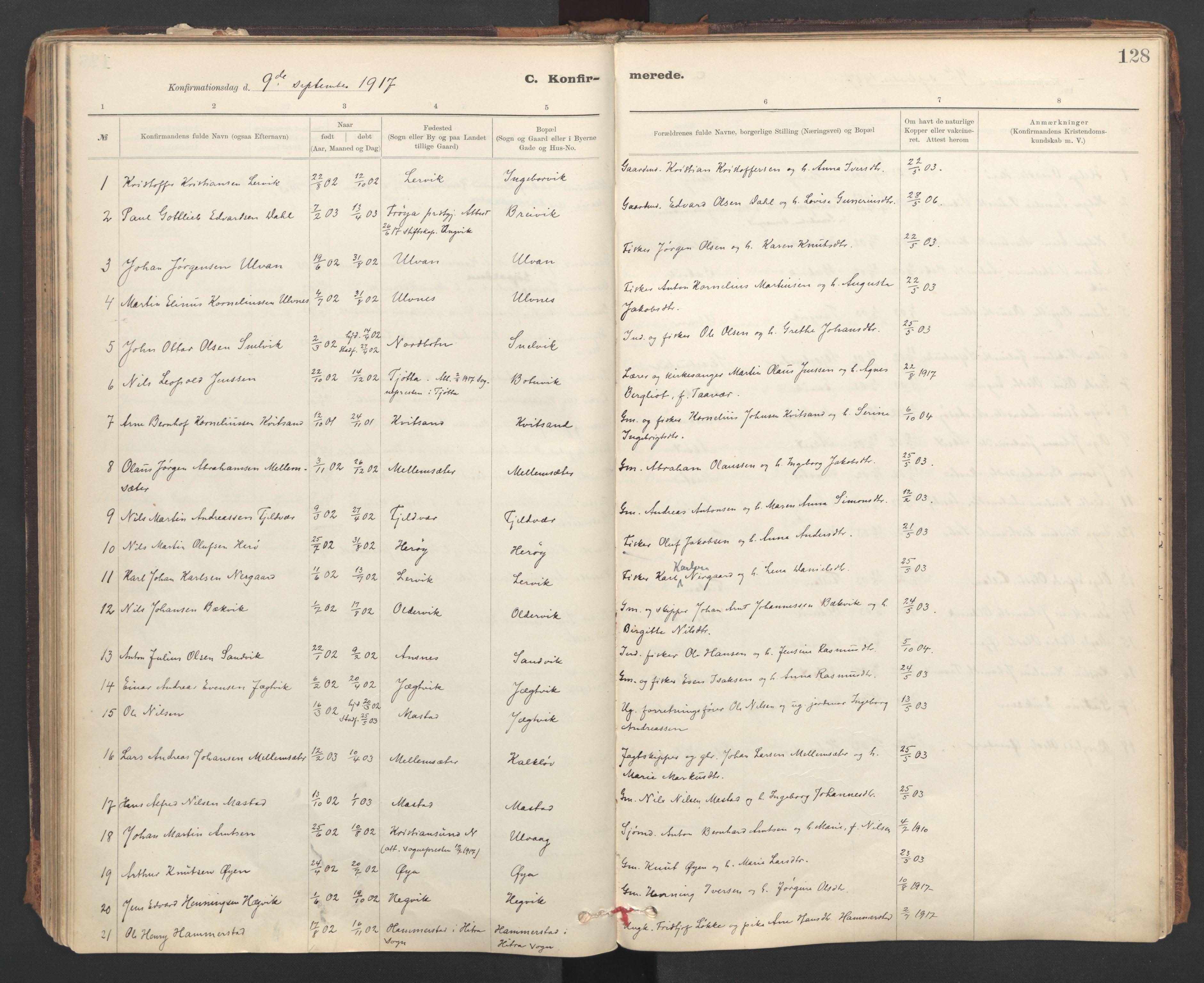 SAT, Ministerialprotokoller, klokkerbøker og fødselsregistre - Sør-Trøndelag, 637/L0559: Ministerialbok nr. 637A02, 1899-1923, s. 128