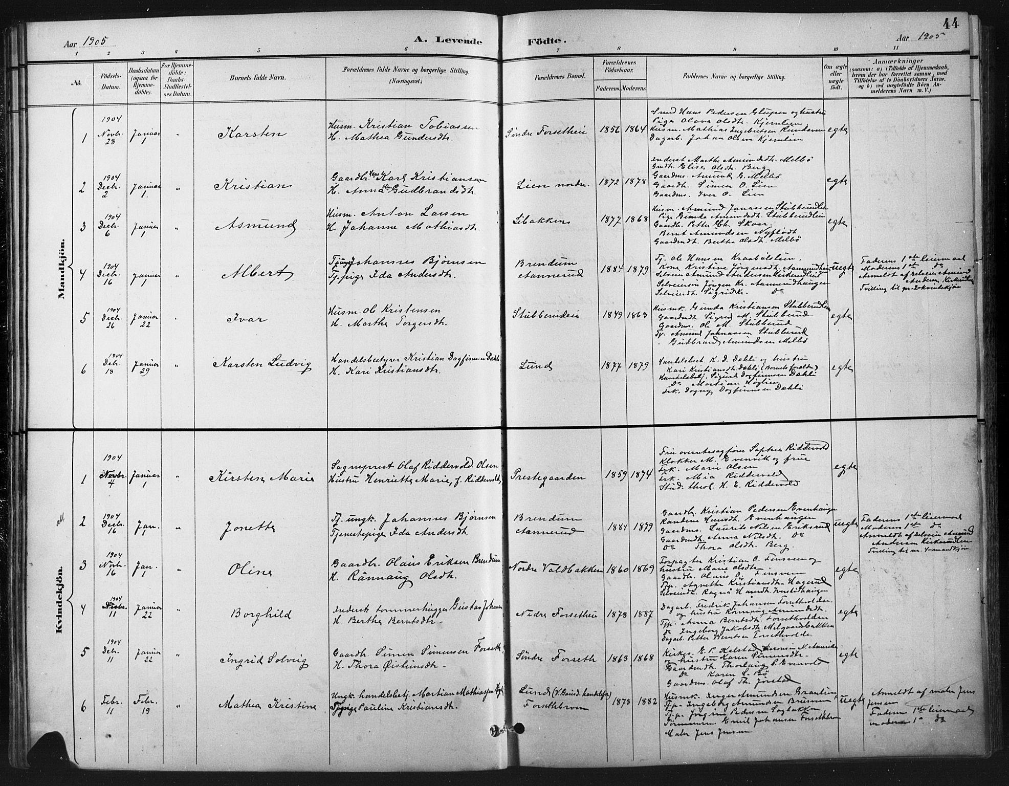 SAH, Vestre Gausdal prestekontor, Klokkerbok nr. 3, 1896-1925, s. 44