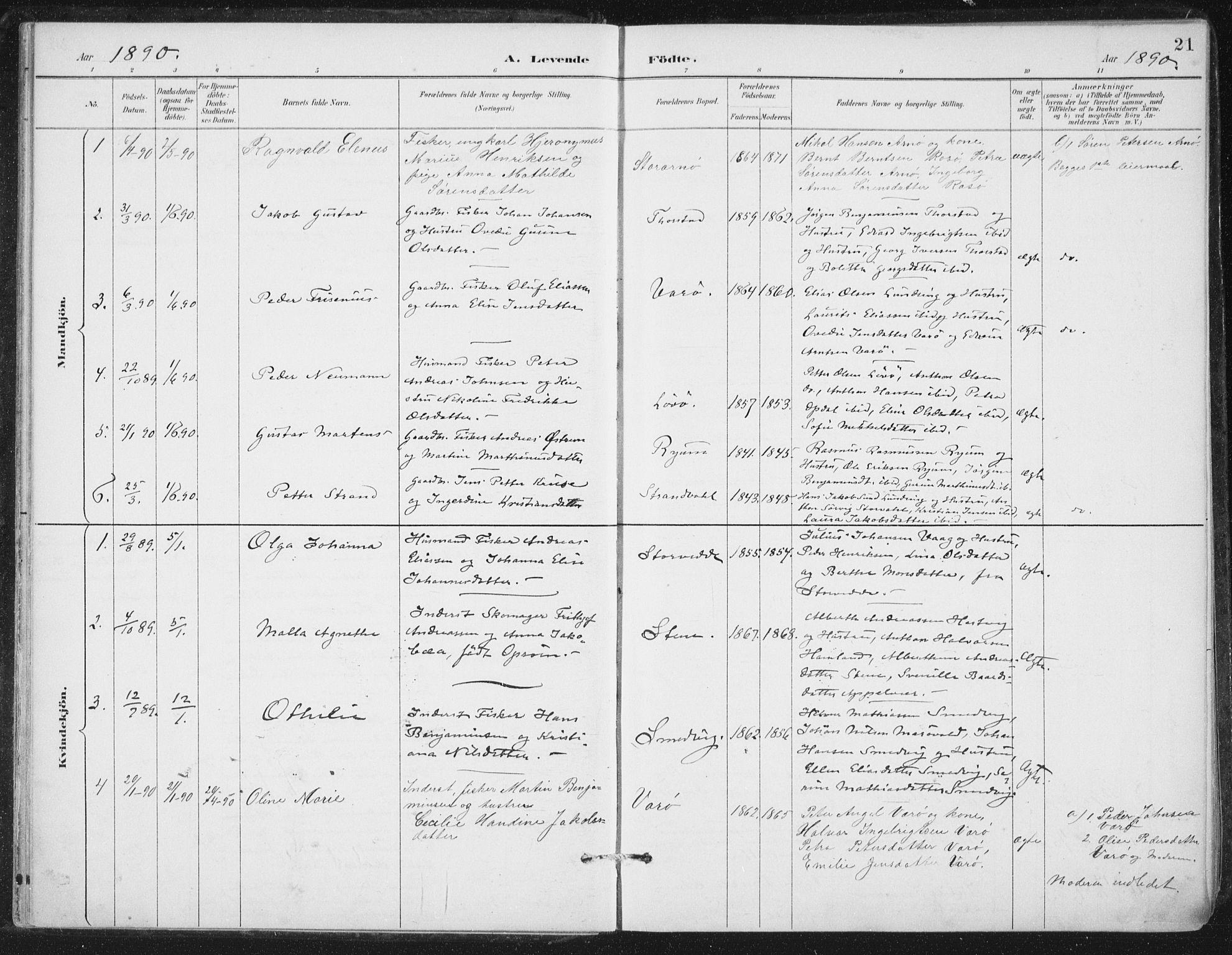 SAT, Ministerialprotokoller, klokkerbøker og fødselsregistre - Nord-Trøndelag, 784/L0673: Ministerialbok nr. 784A08, 1888-1899, s. 21