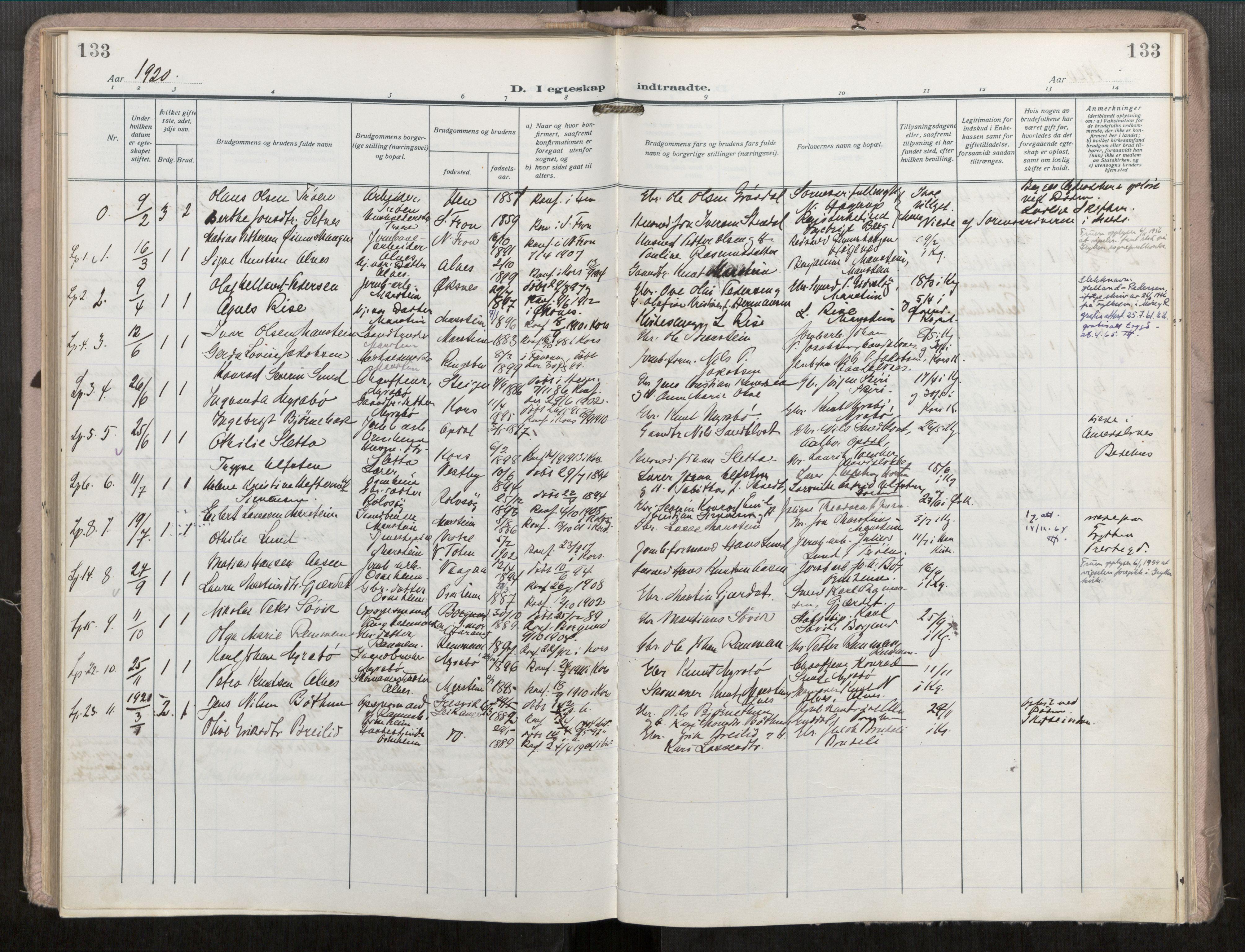 SAT, Grytten sokneprestkontor, Ministerialbok nr. 546A04, 1919-1956, s. 133