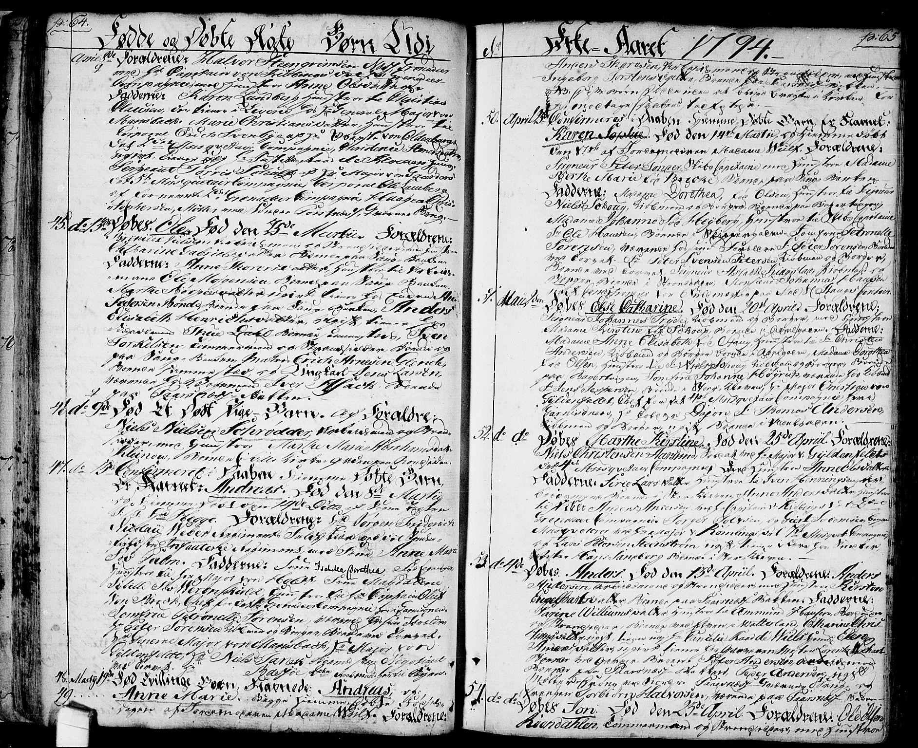 SAO, Halden prestekontor Kirkebøker, F/Fa/L0002: Ministerialbok nr. I 2, 1792-1812, s. 64-65