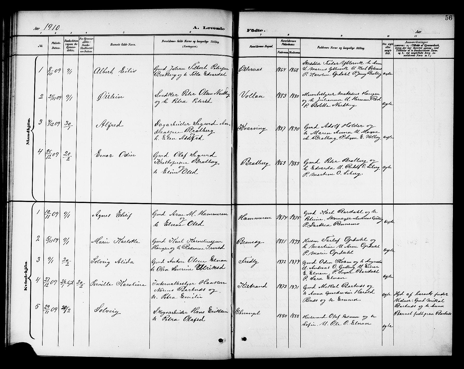 SAT, Ministerialprotokoller, klokkerbøker og fødselsregistre - Nord-Trøndelag, 741/L0401: Klokkerbok nr. 741C02, 1899-1911, s. 56