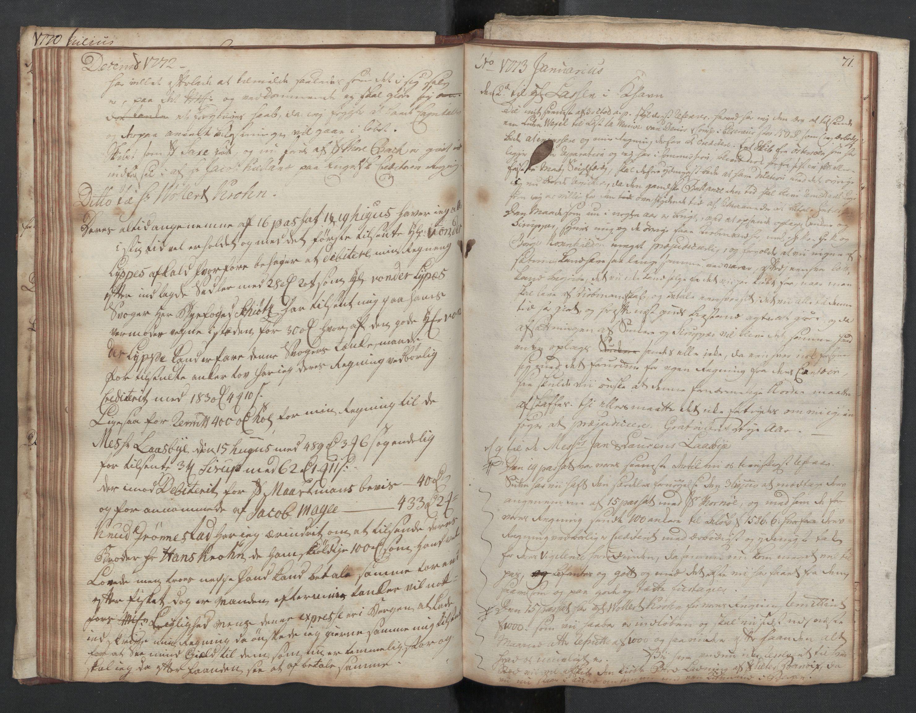 SAST, Pa 0003 - Ploug & Sundt, handelshuset, B/L0002: Kopibok, 1770-1775, s. 70b-71a