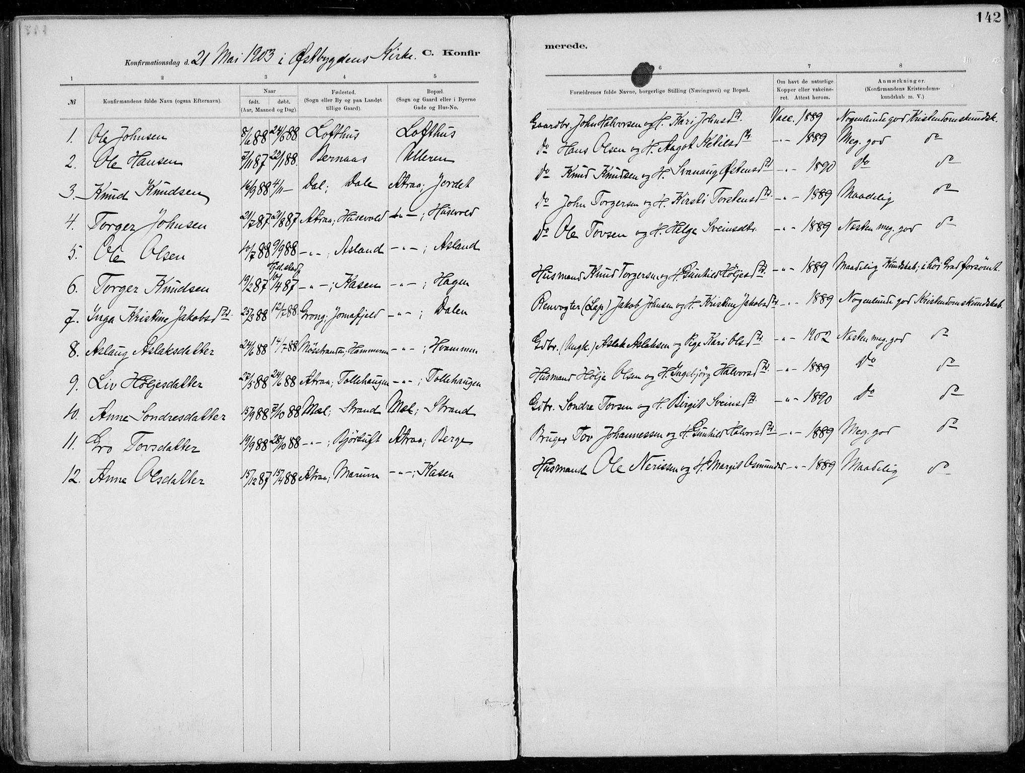 SAKO, Tinn kirkebøker, F/Fa/L0007: Ministerialbok nr. I 7, 1878-1922, s. 142