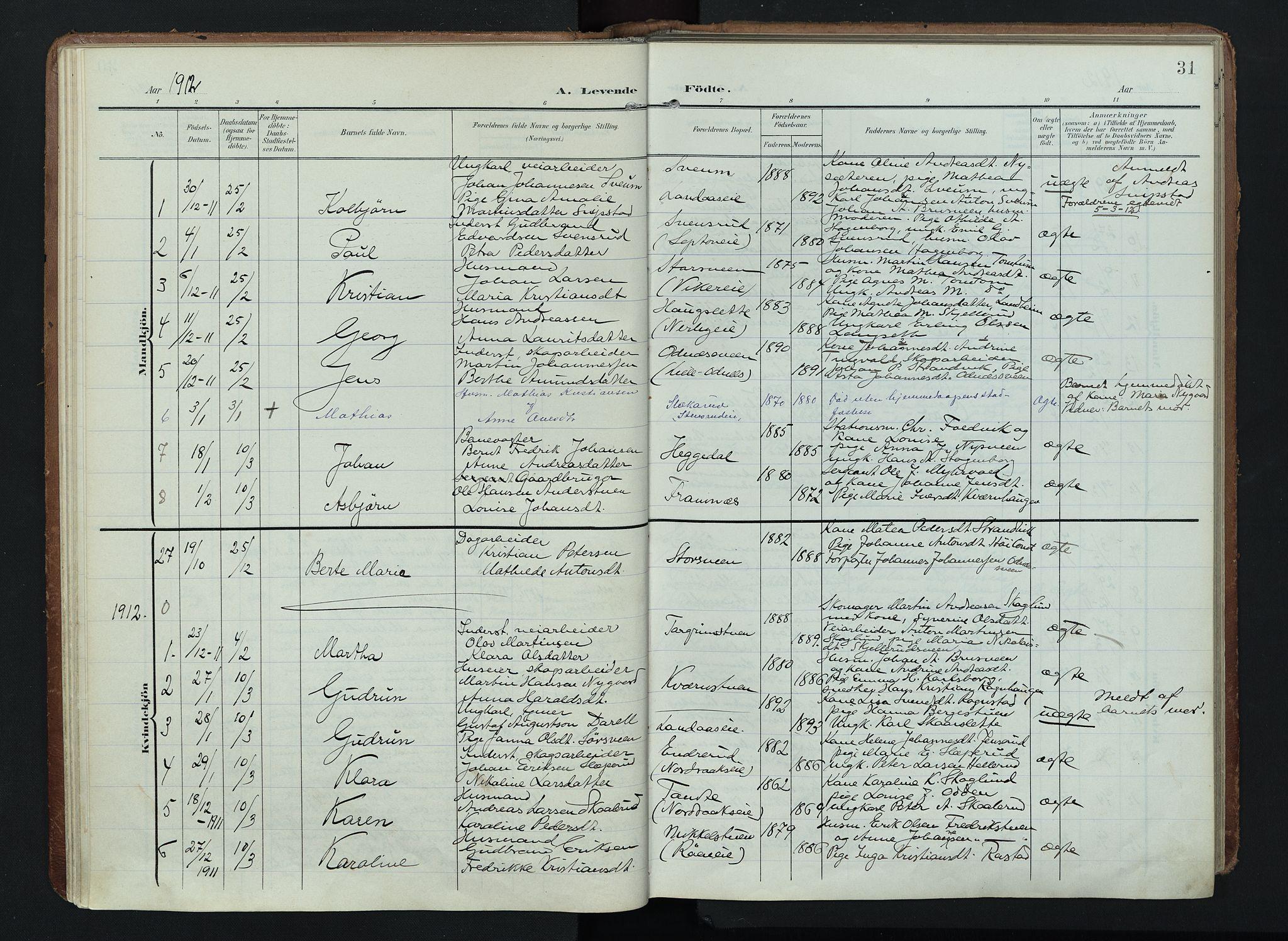 SAH, Søndre Land prestekontor, K/L0005: Ministerialbok nr. 5, 1905-1914, s. 31