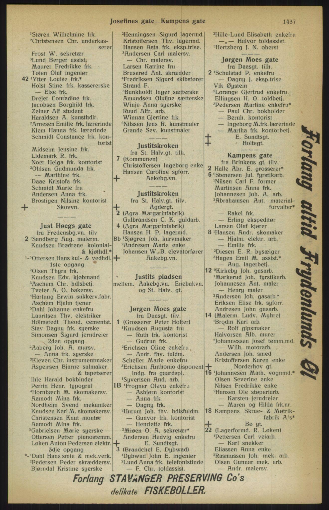 RA, Kristiania adressebok (publikasjon)*, 1915, s. 1437