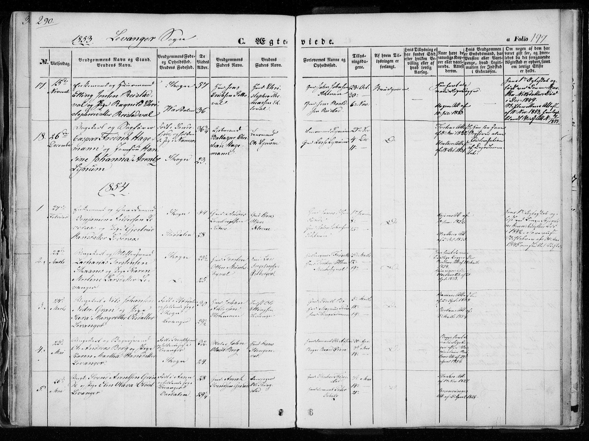 SAT, Ministerialprotokoller, klokkerbøker og fødselsregistre - Nord-Trøndelag, 720/L0183: Ministerialbok nr. 720A01, 1836-1855, s. 197