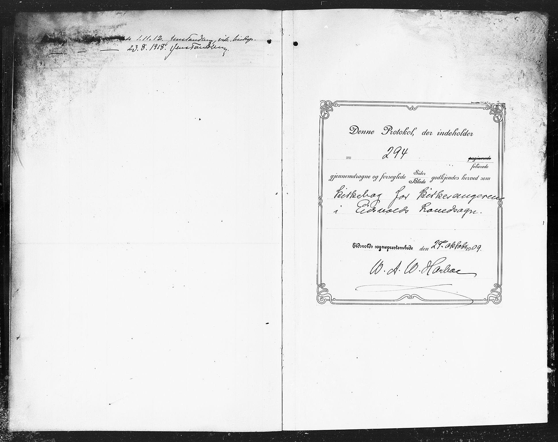 SAO, Eidsvoll prestekontor Kirkebøker, G/Ga/L0008: Klokkerbok nr. I 8, 1909-1918