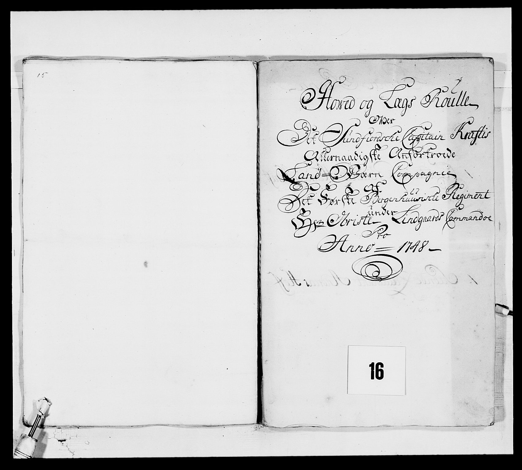 RA, Kommanderende general (KG I) med Det norske krigsdirektorium, E/Ea/L0517: 1. Bergenhusiske regiment, 1742-1756, s. 152