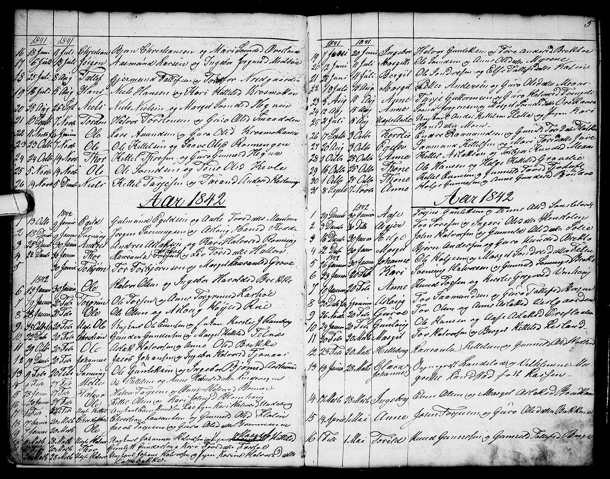 SAKO, Seljord kirkebøker, G/Ga/L0002: Klokkerbok nr. I 2, 1838-1866, s. 5