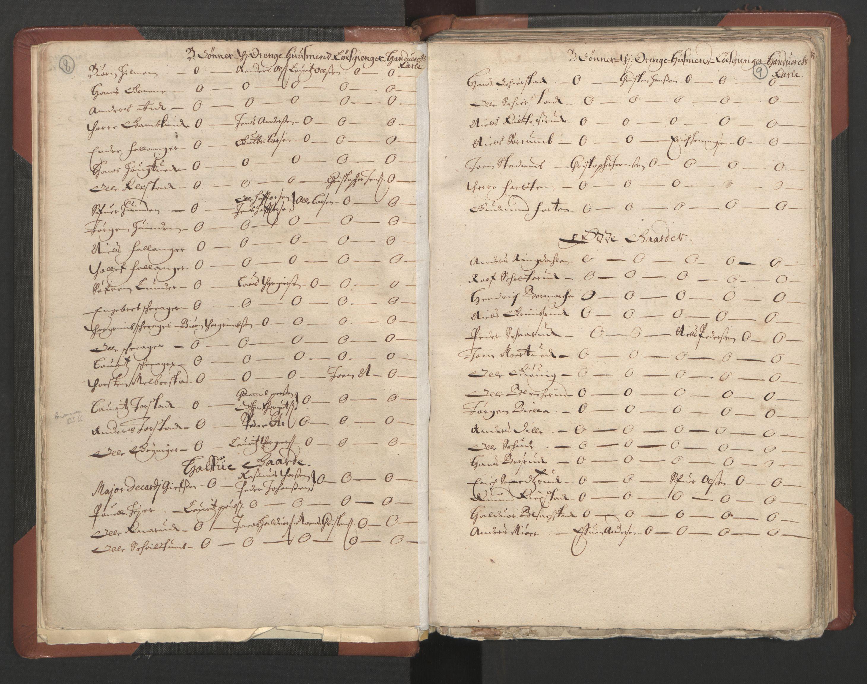 RA, Fogdenes og sorenskrivernes manntall 1664-1666, nr. 4: Hadeland og Valdres fogderi og Gudbrandsdal fogderi, 1664, s. 8-9