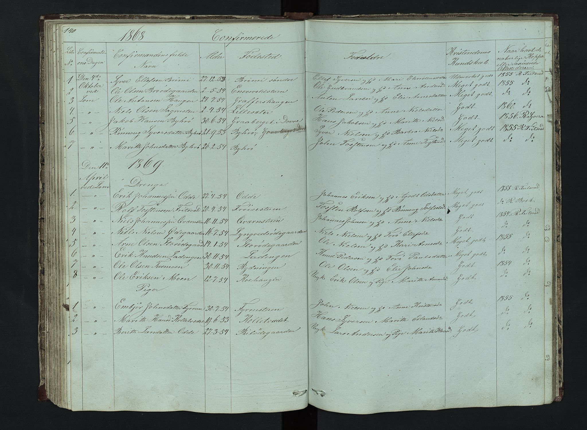 SAH, Lom prestekontor, L/L0014: Klokkerbok nr. 14, 1845-1876, s. 140-141