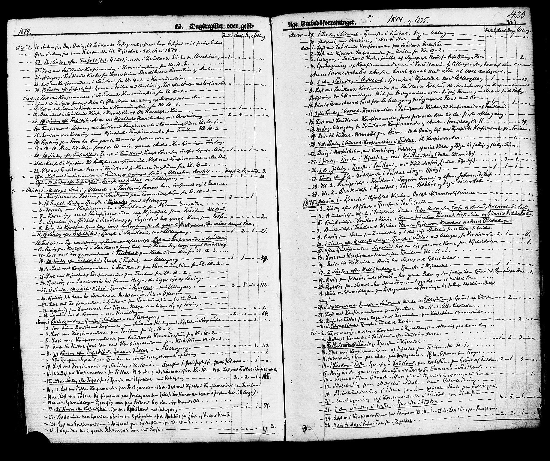 SAKO, Hjartdal kirkebøker, F/Fa/L0009: Ministerialbok nr. I 9, 1860-1879, s. 423