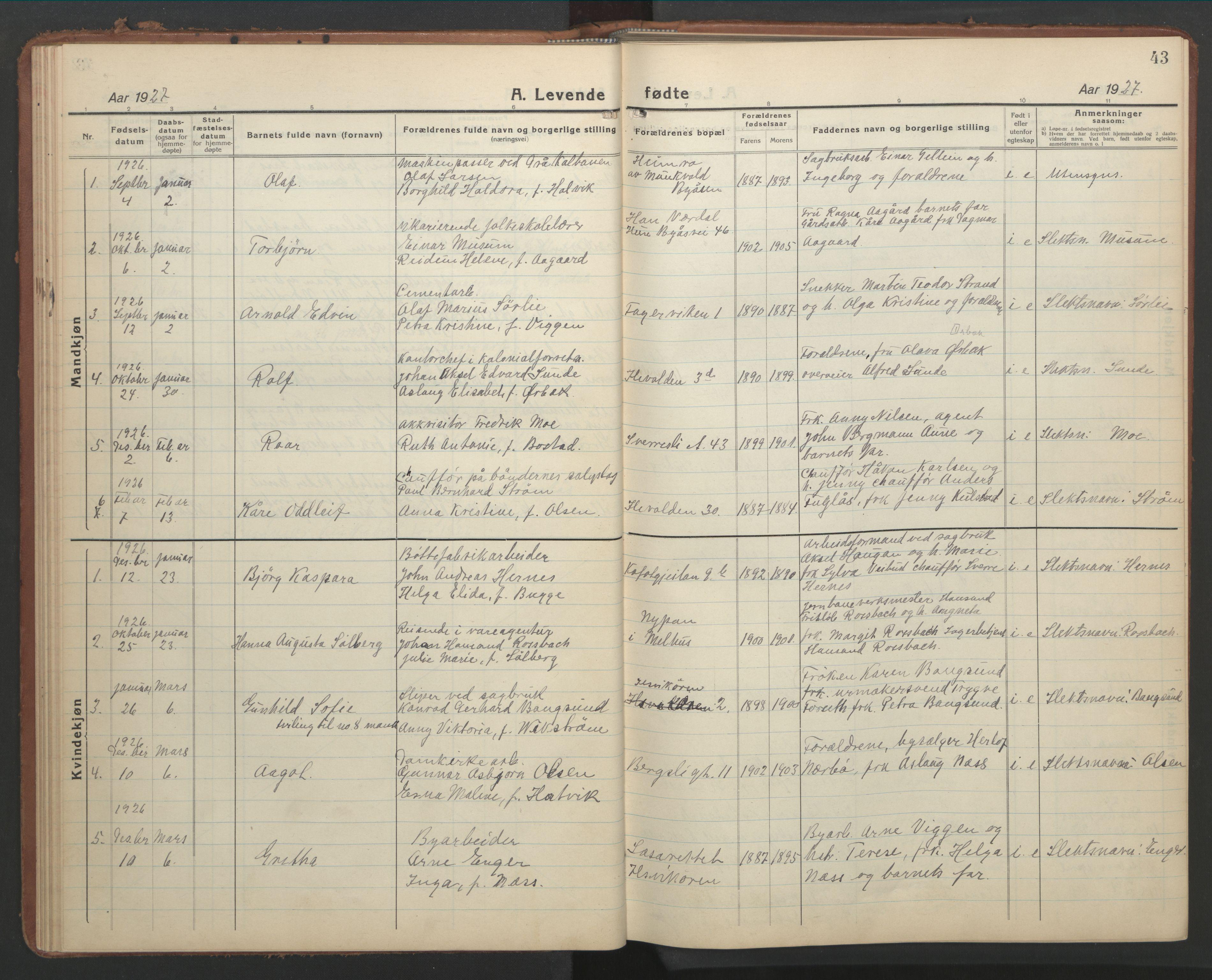 SAT, Ministerialprotokoller, klokkerbøker og fødselsregistre - Sør-Trøndelag, 603/L0174: Klokkerbok nr. 603C02, 1923-1951, s. 43