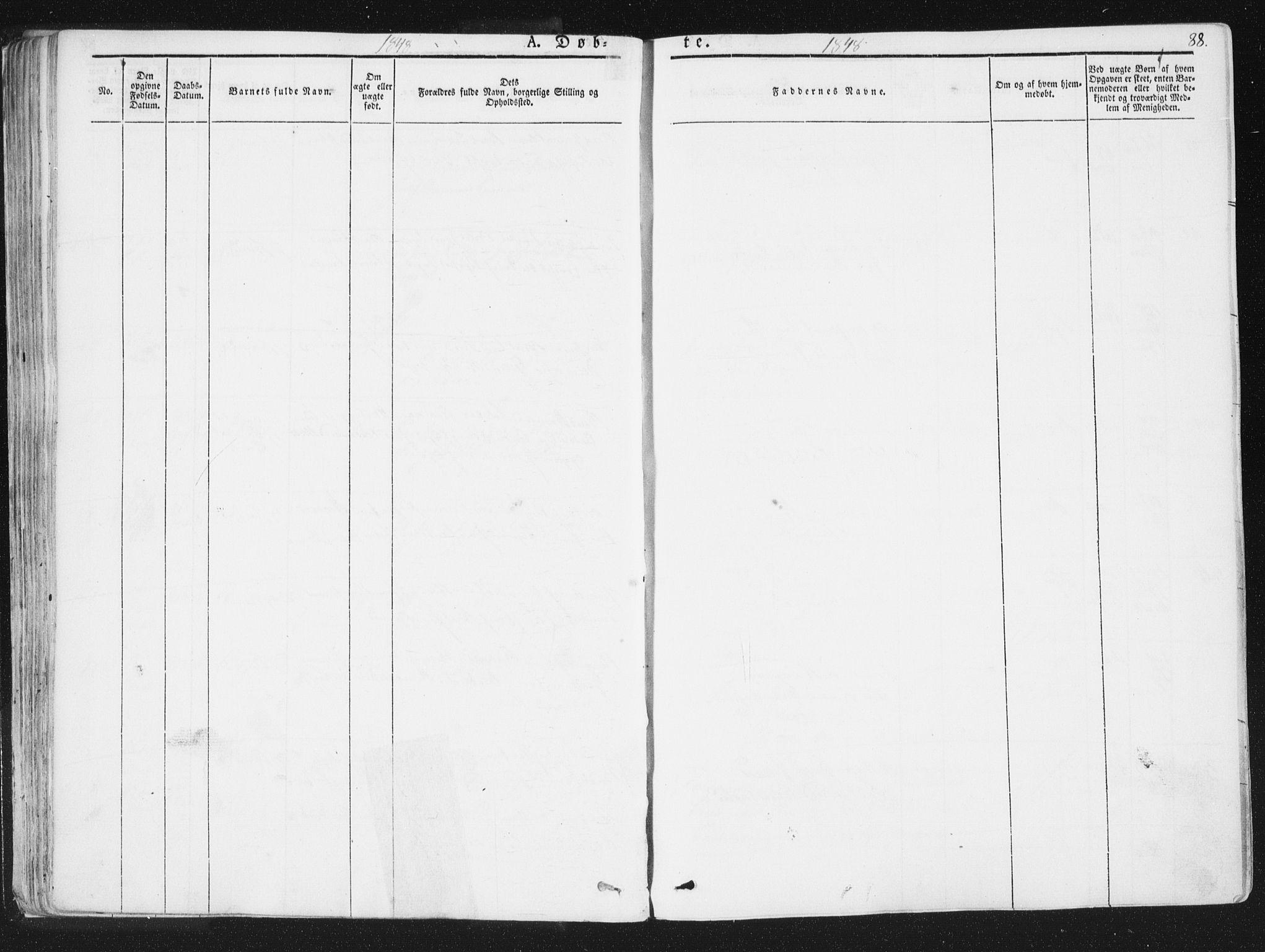 SAT, Ministerialprotokoller, klokkerbøker og fødselsregistre - Sør-Trøndelag, 691/L1074: Ministerialbok nr. 691A06, 1842-1852, s. 88