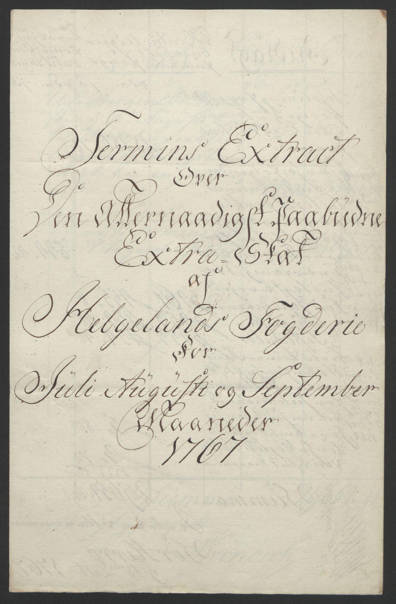 RA, Rentekammeret inntil 1814, Reviderte regnskaper, Fogderegnskap, R65/L4573: Ekstraskatten Helgeland, 1762-1772, s. 153