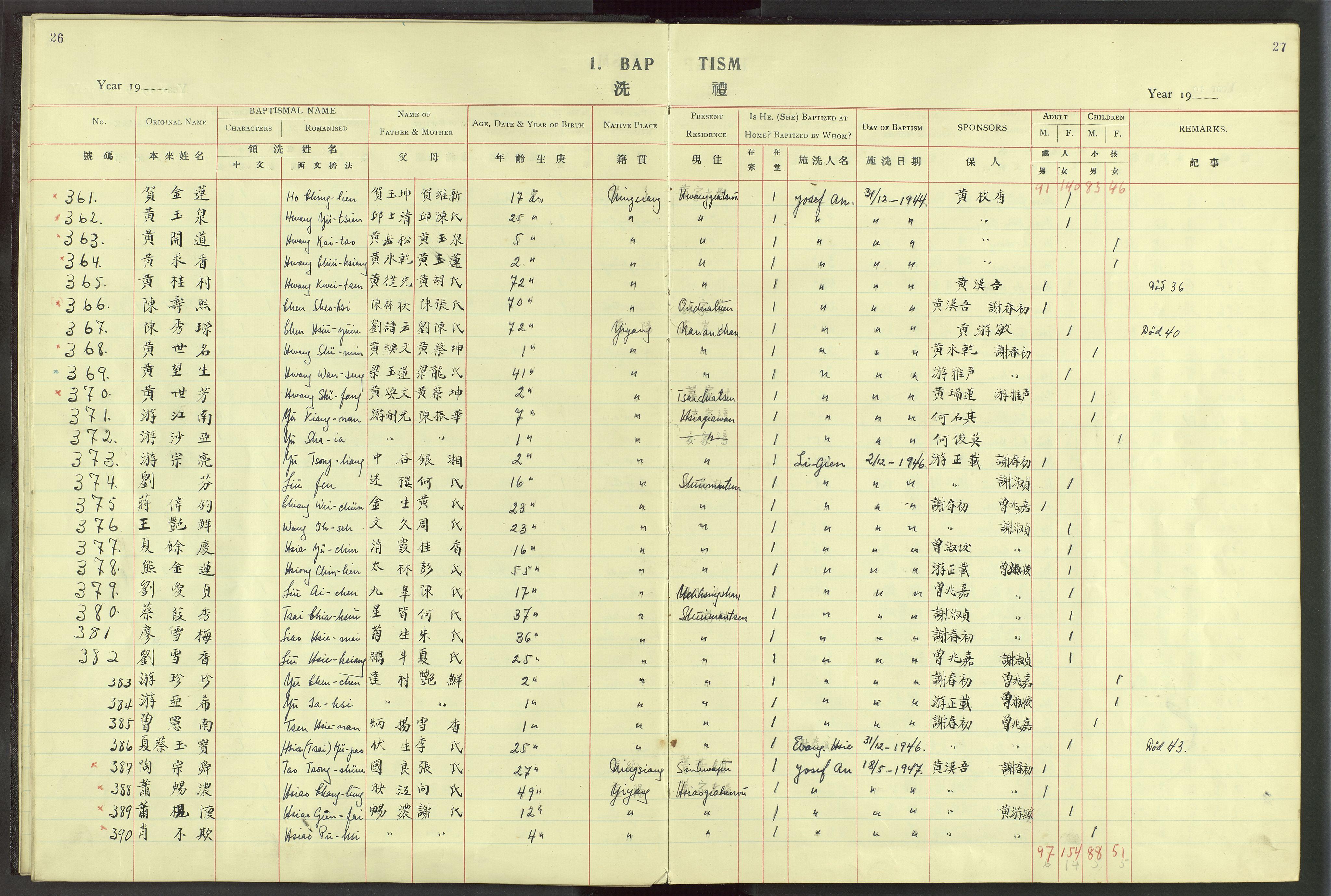 VID, Det Norske Misjonsselskap - utland - Kina (Hunan), Dm/L0024: Ministerialbok nr. 62, 1931-1948, s. 26-27